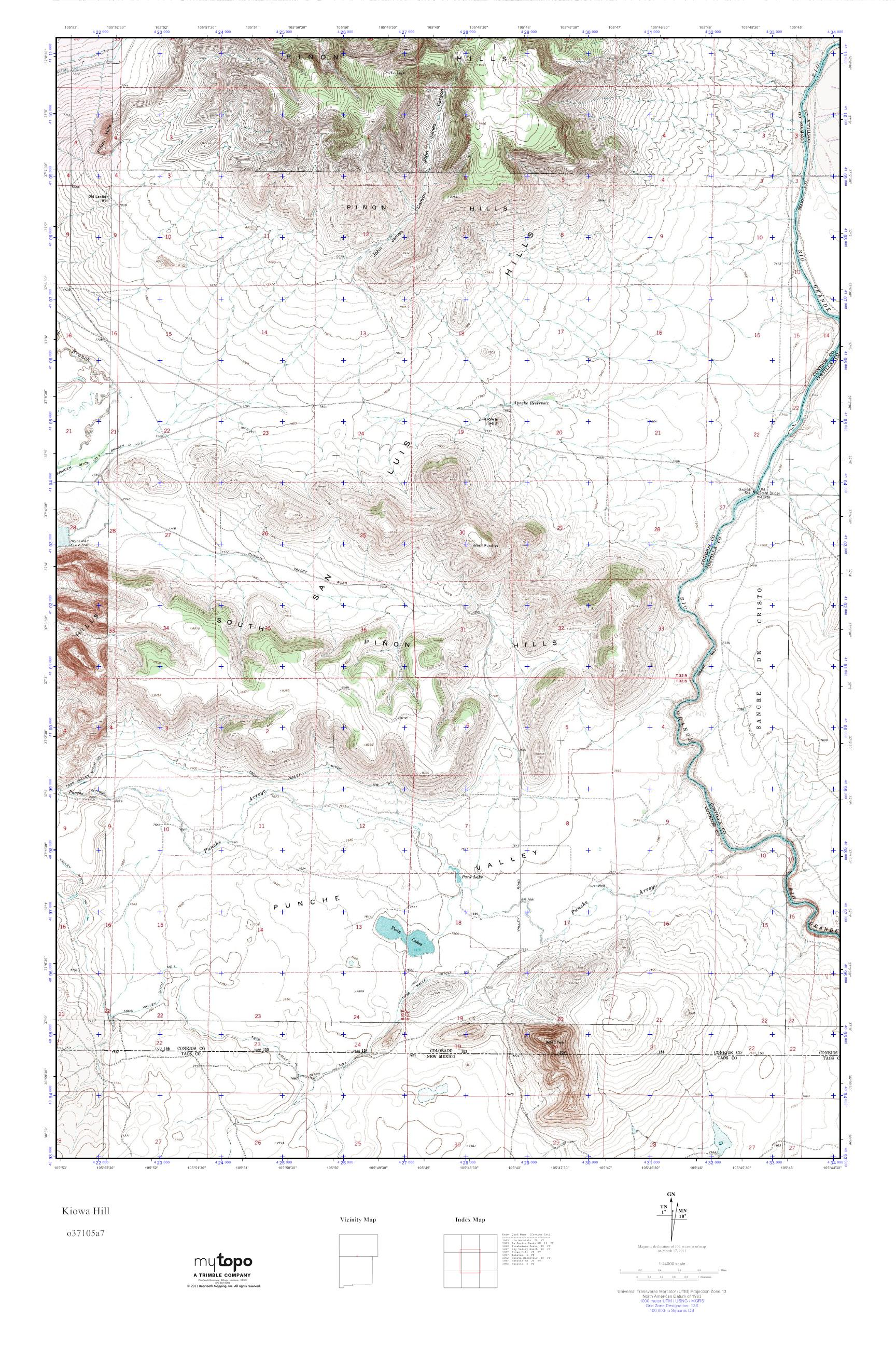 Mytopo Kiowa Hill Colorado Usgs Quad Topo Map