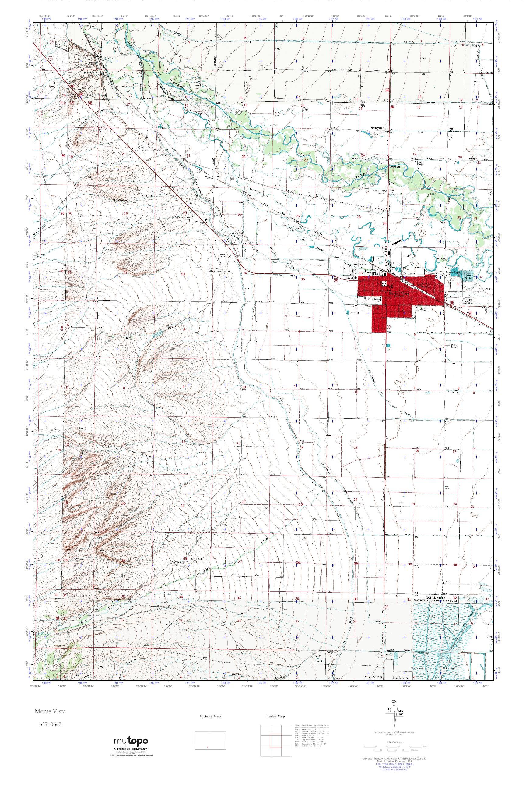 Mytopo Monte Vista Colorado Usgs Quad Topo Map