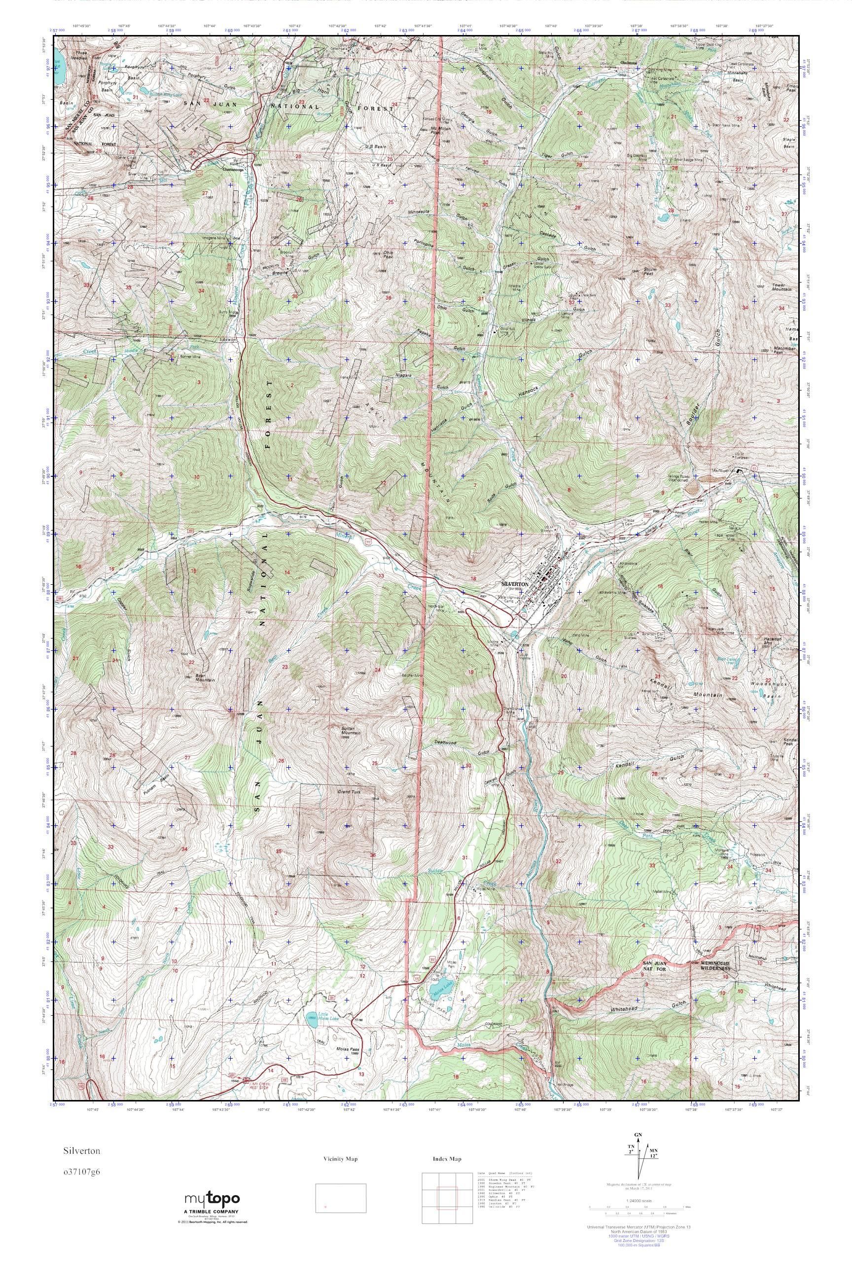 Mytopo Silverton Colorado Usgs Quad Topo Map
