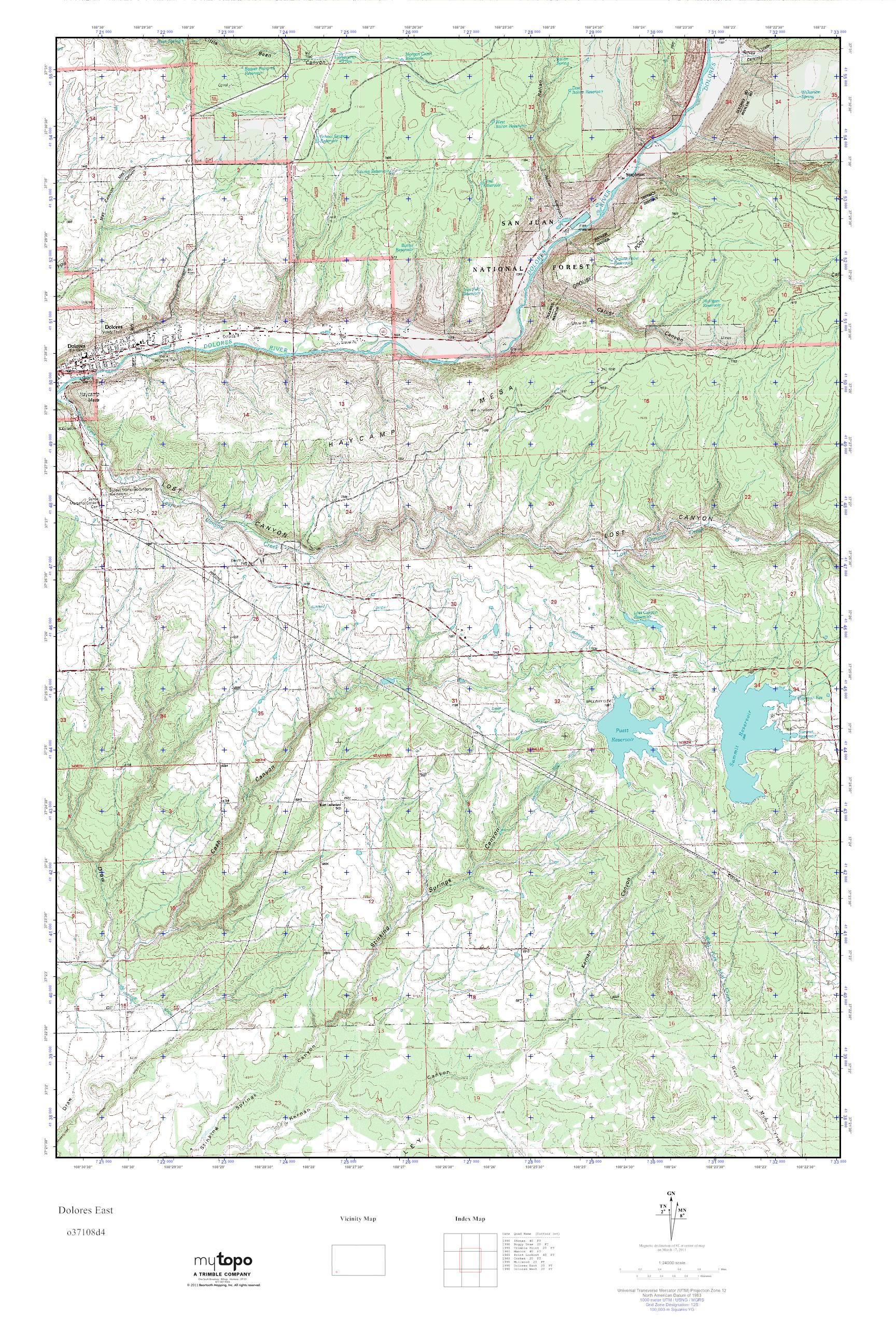 Mytopo Dolores East Colorado Usgs Quad Topo Map