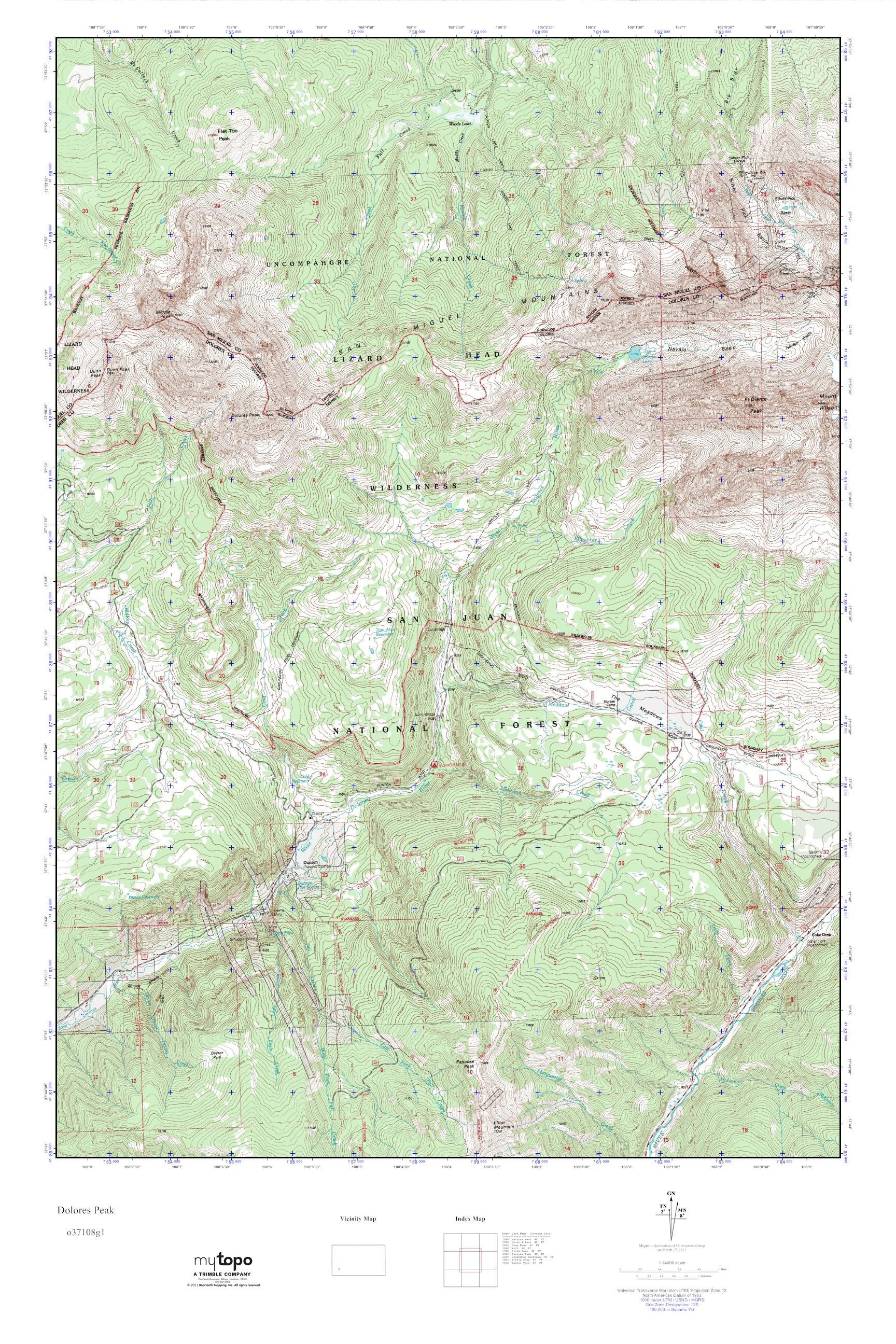 Mytopo Dolores Peak Colorado Usgs Quad Topo Map