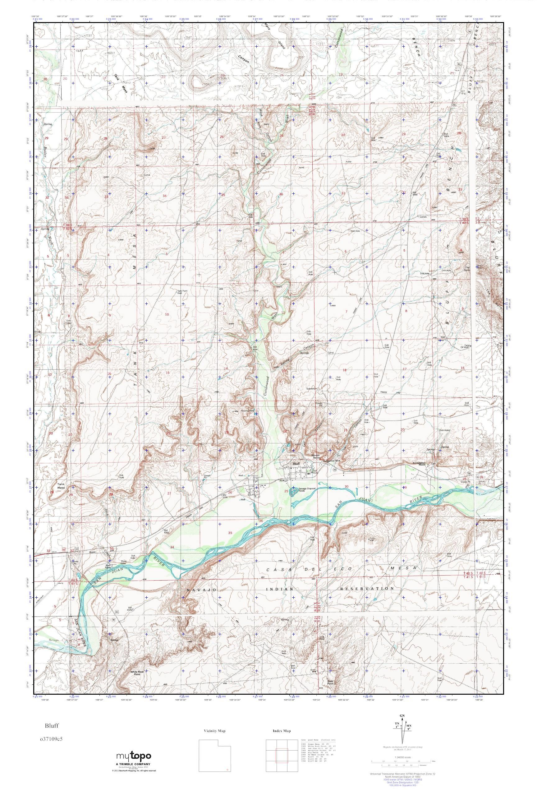 MyTopo Bluff, Utah USGS Quad Topo Map