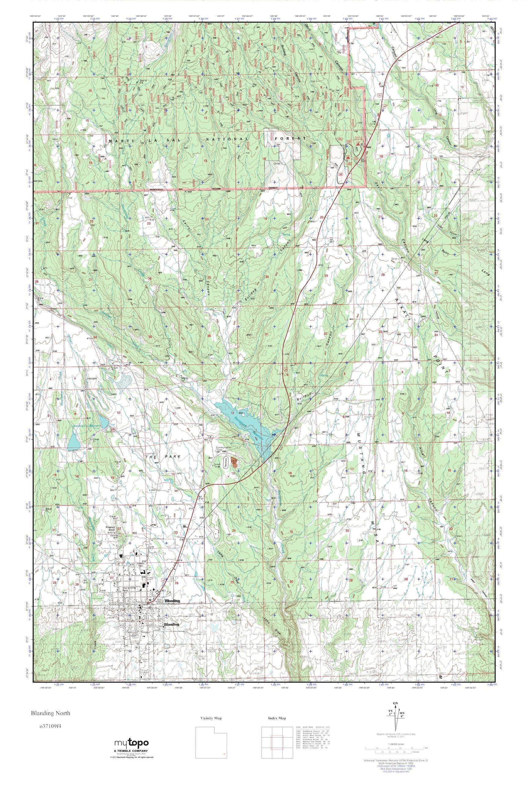Mytopo Blanding North Utah Usgs Quad Topo Map