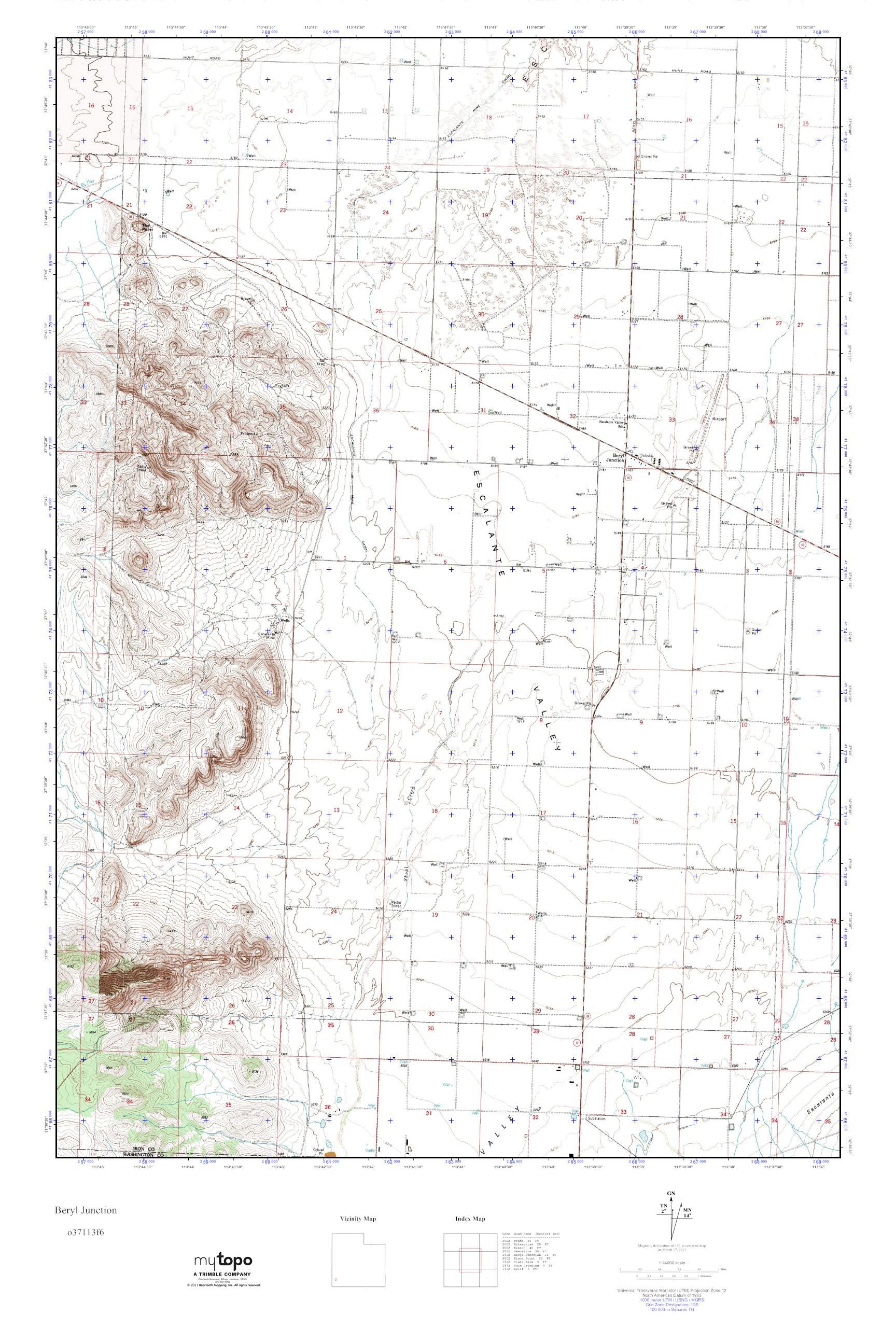 Beryl Utah Map.Mytopo Beryl Junction Utah Usgs Quad Topo Map