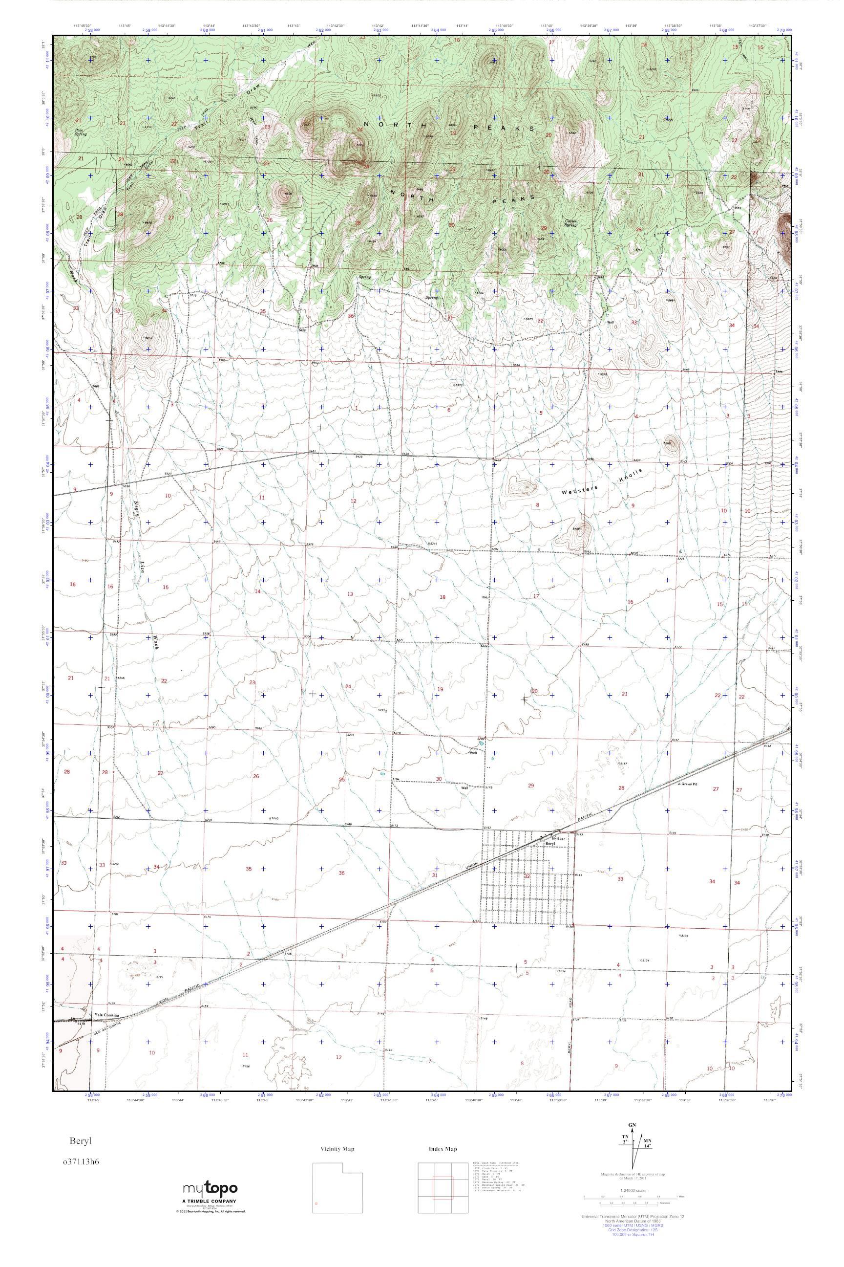 Beryl Utah Map.Mytopo Beryl Utah Usgs Quad Topo Map