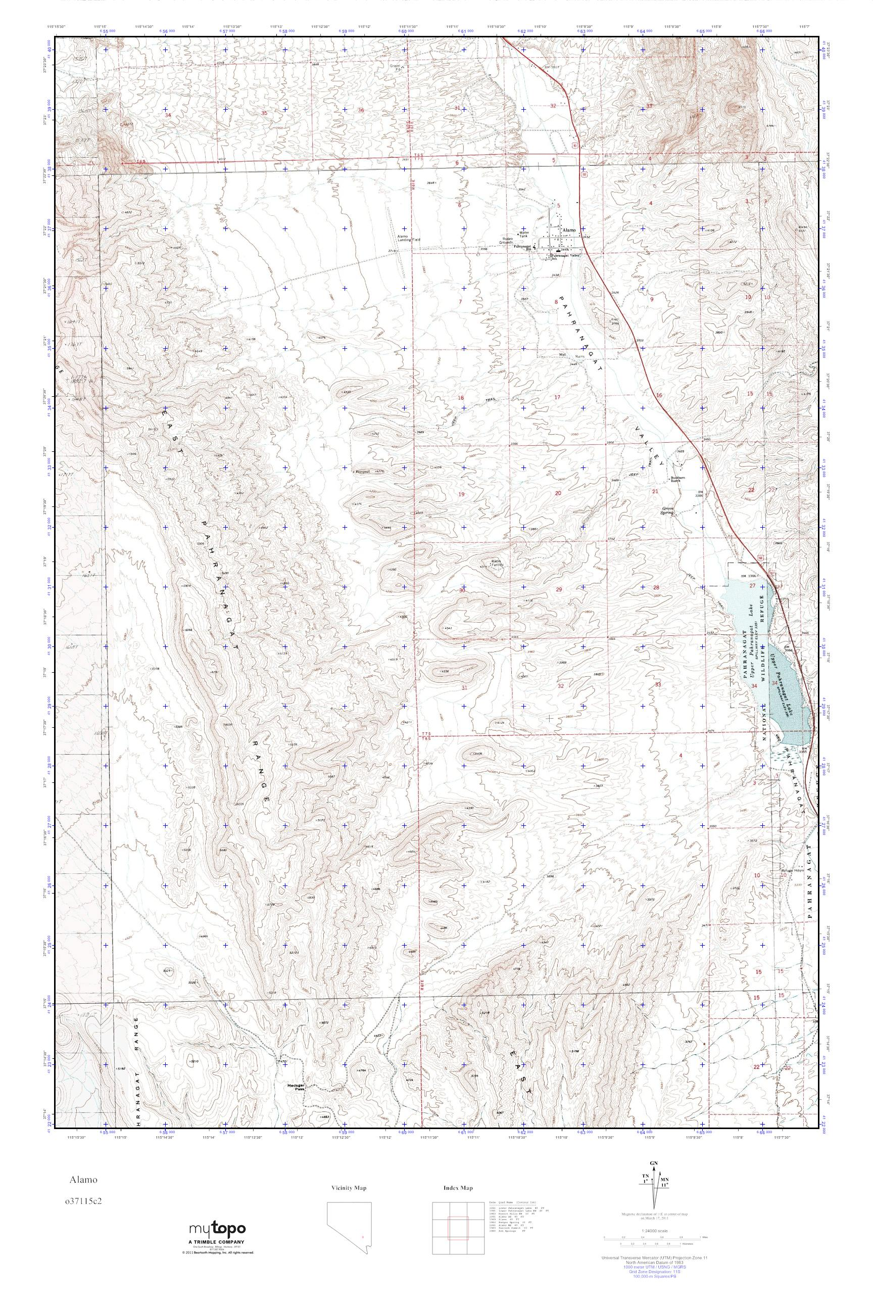 MyTopo Alamo, Nevada USGS Quad Topo Map on