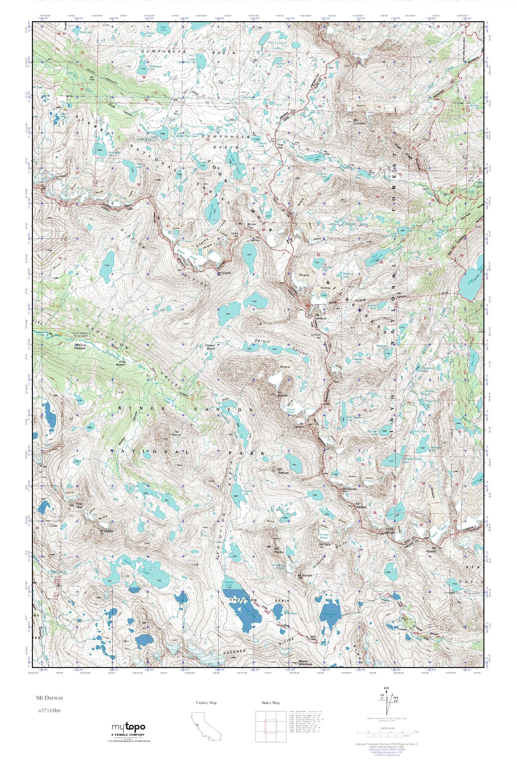 Darwin California Map.Mytopo Mt Darwin California Usgs Quad Topo Map