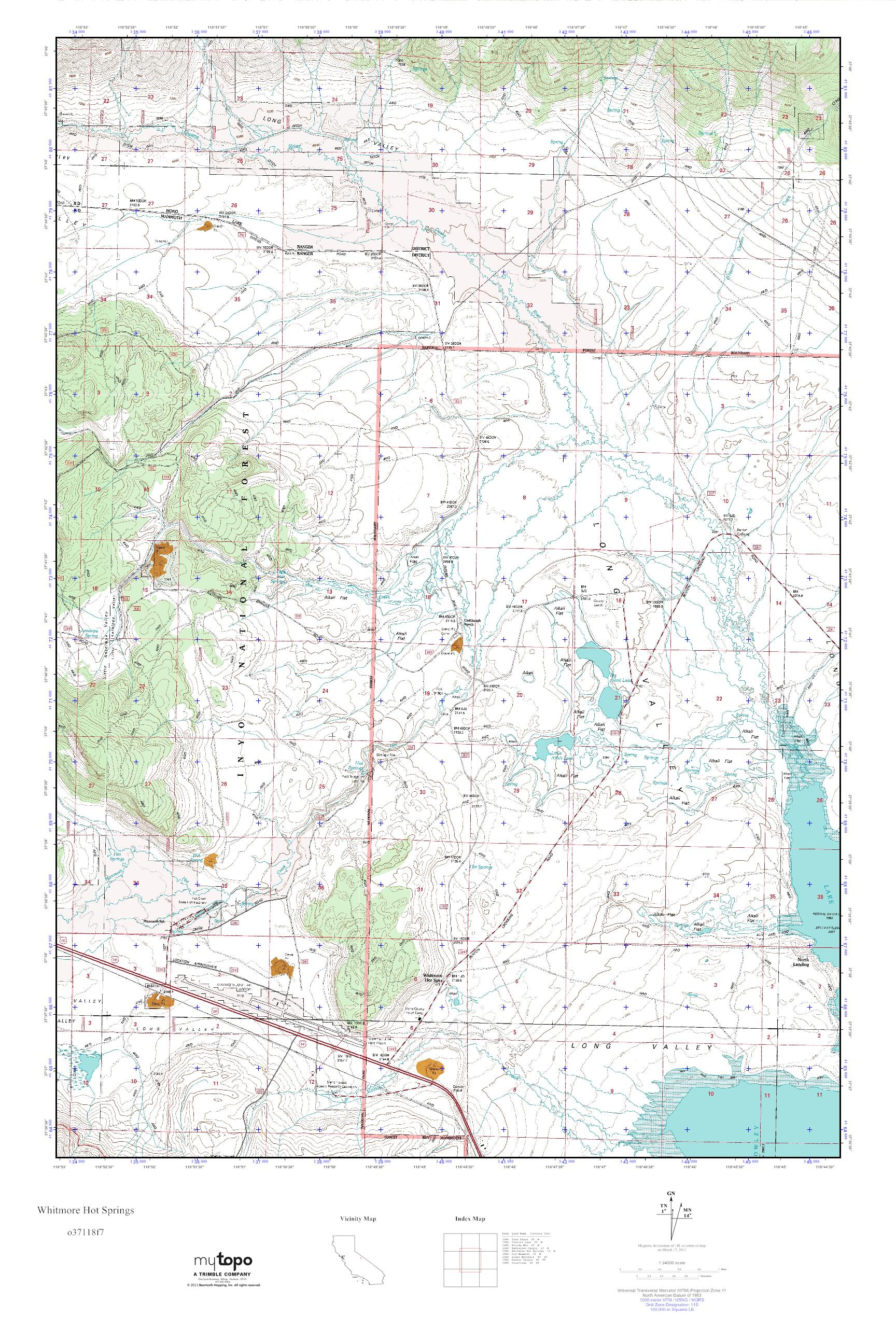 Map Of California Hot Springs.Mytopo Whitmore Hot Springs California Usgs Quad Topo Map