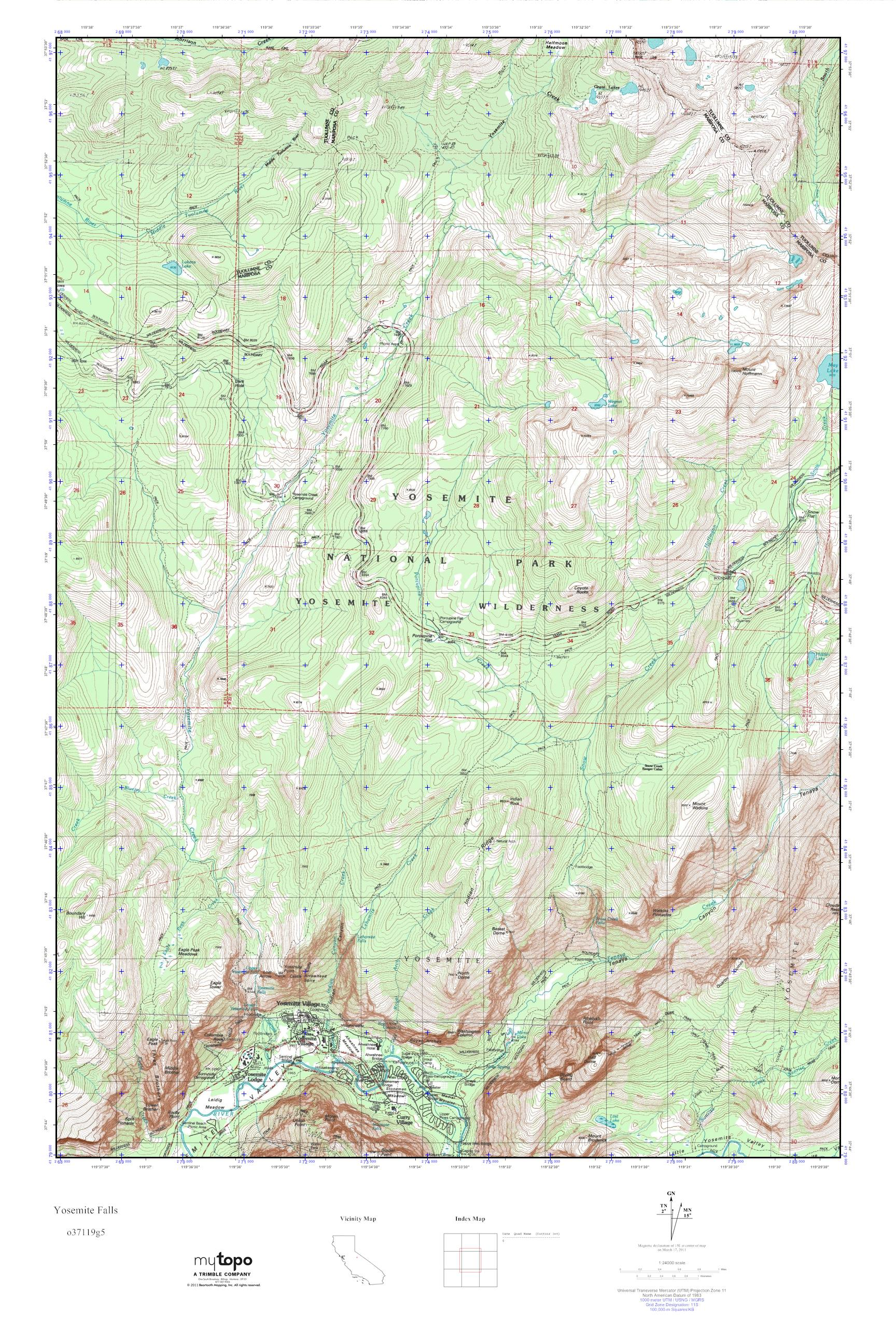Mytopo Yosemite Falls California Usgs Quad Topo Map