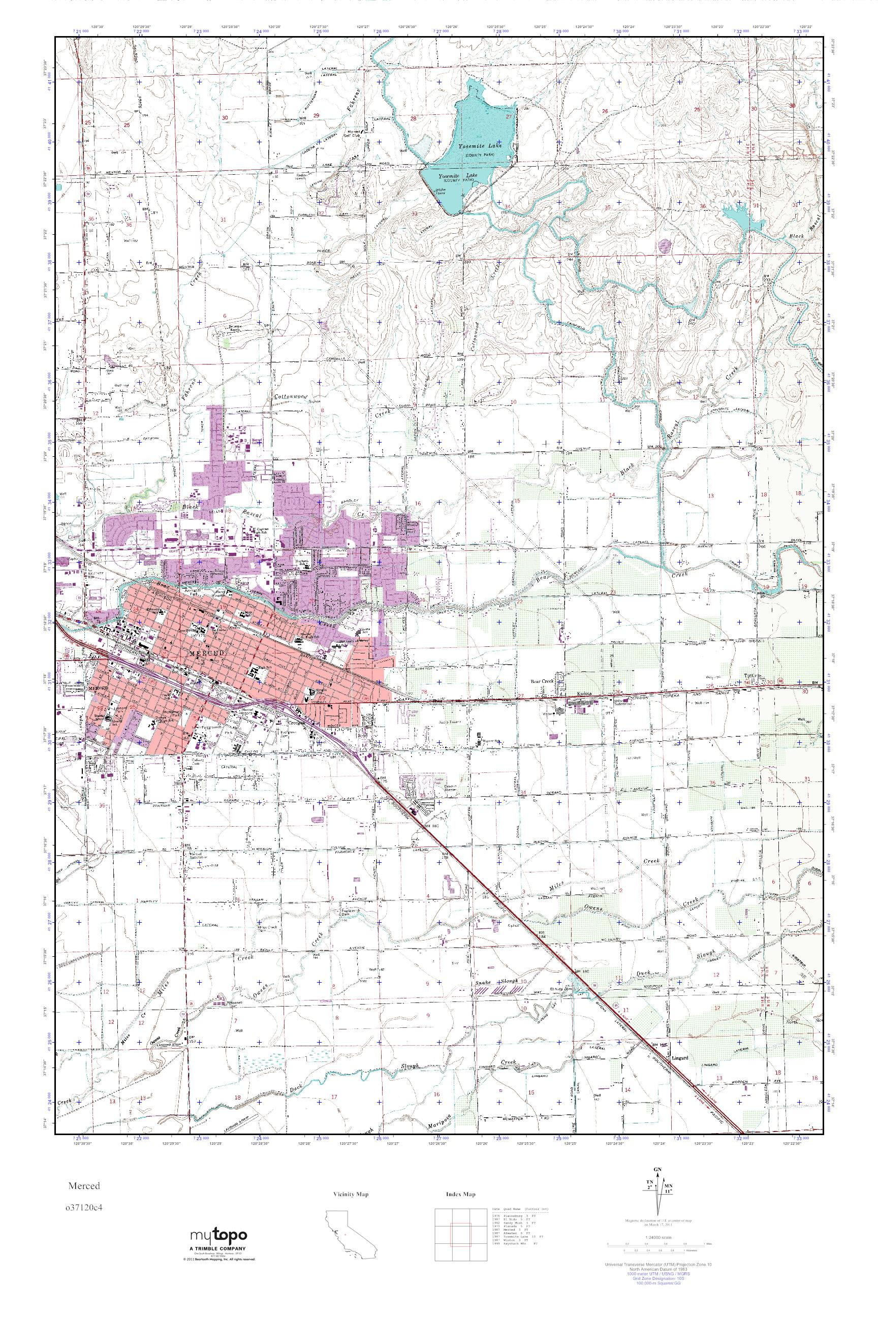 Mytopo Merced California Usgs Quad Topo Map