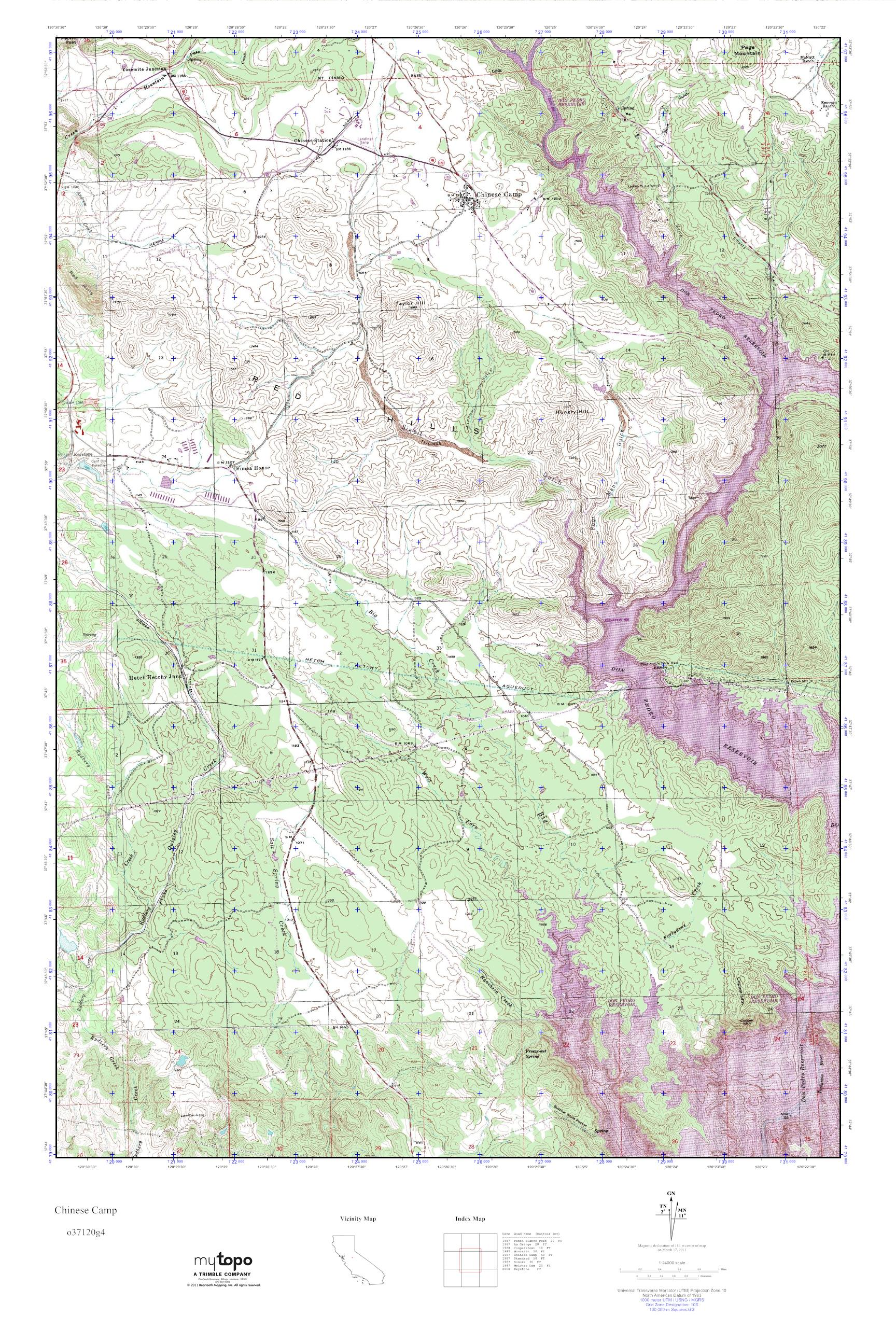 MyTopo Chinese Camp California USGS Quad Topo Map
