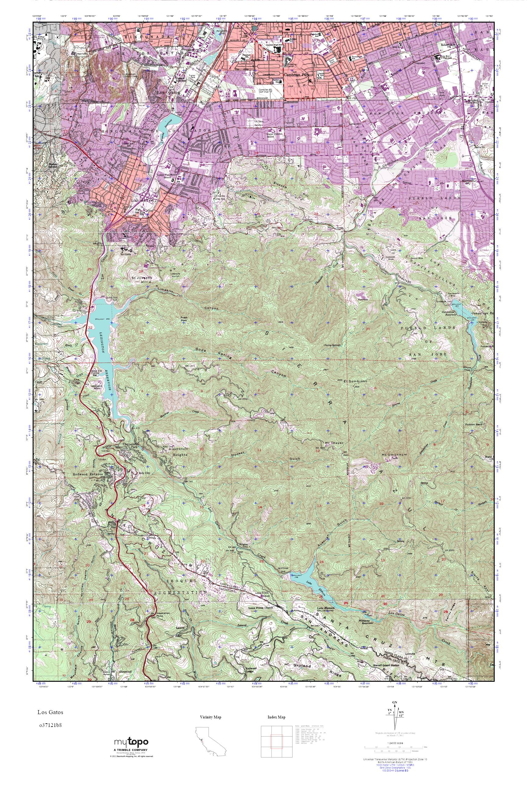 Mytopo Los Gatos California Usgs Quad Topo Map