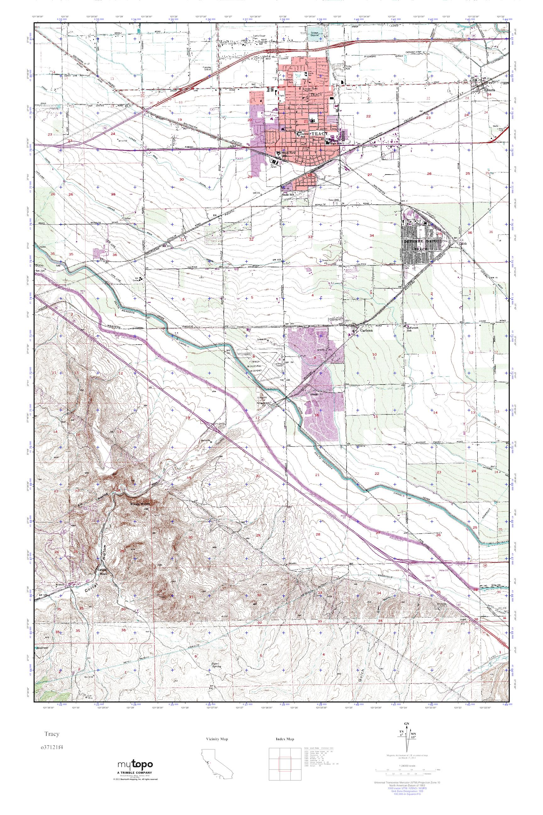 Mytopo Tracy California Usgs Quad Topo Map