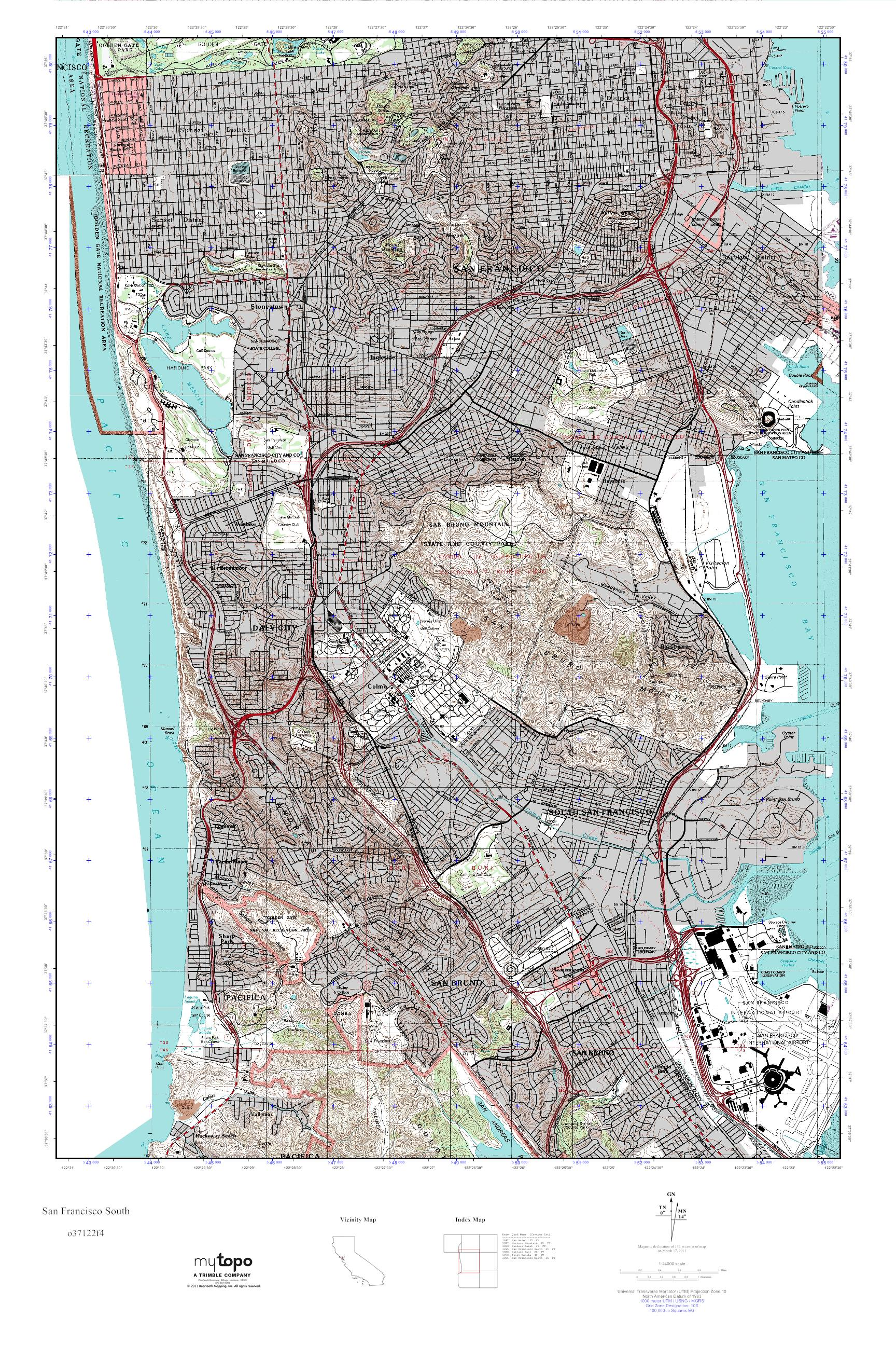 MyTopo San Francisco South, California USGS Quad Topo Map