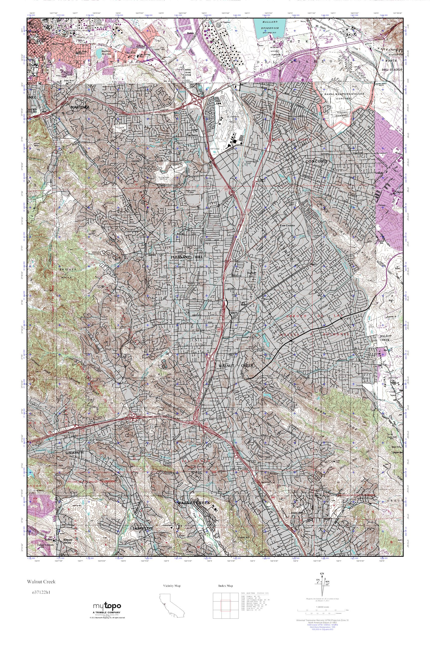 MyTopo Walnut Creek California USGS Quad Topo Map - Usgs topographic maps online