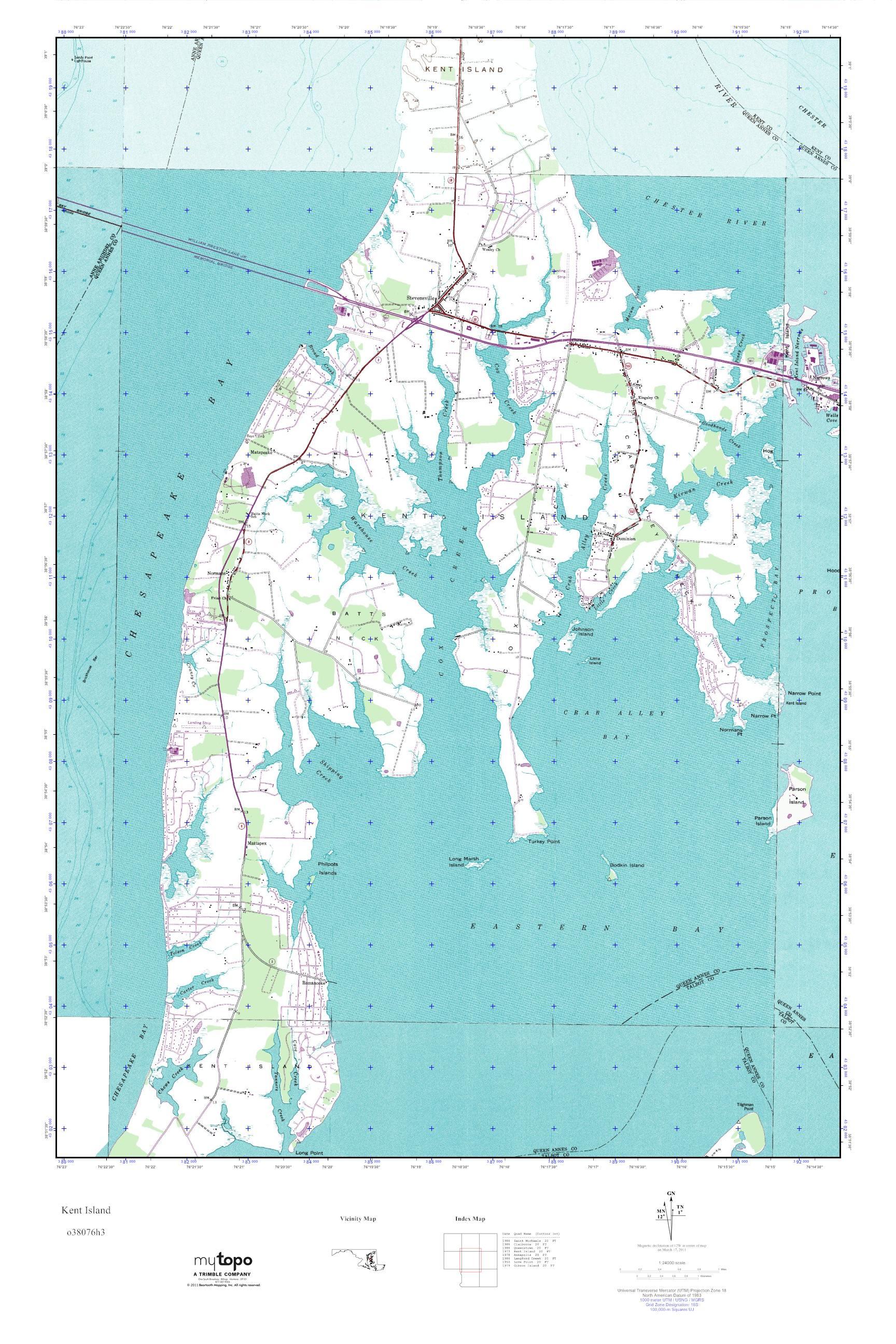 MyTopo Kent Island, Maryland USGS Quad Topo Map