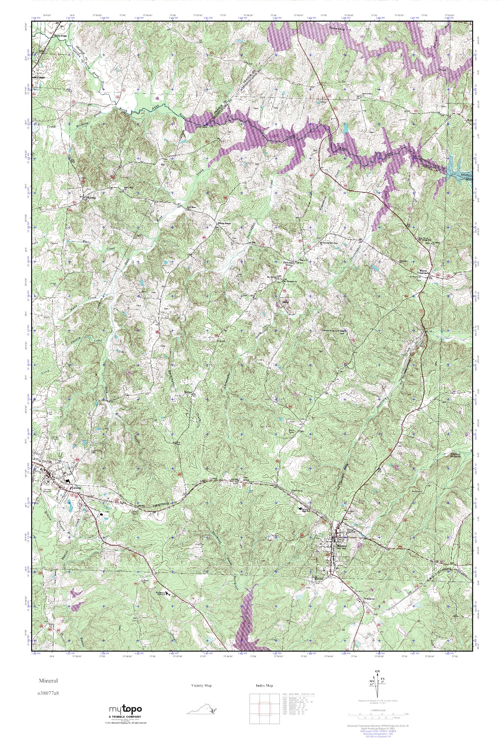 Mytopo Mineral Virginia Usgs Quad Topo Map