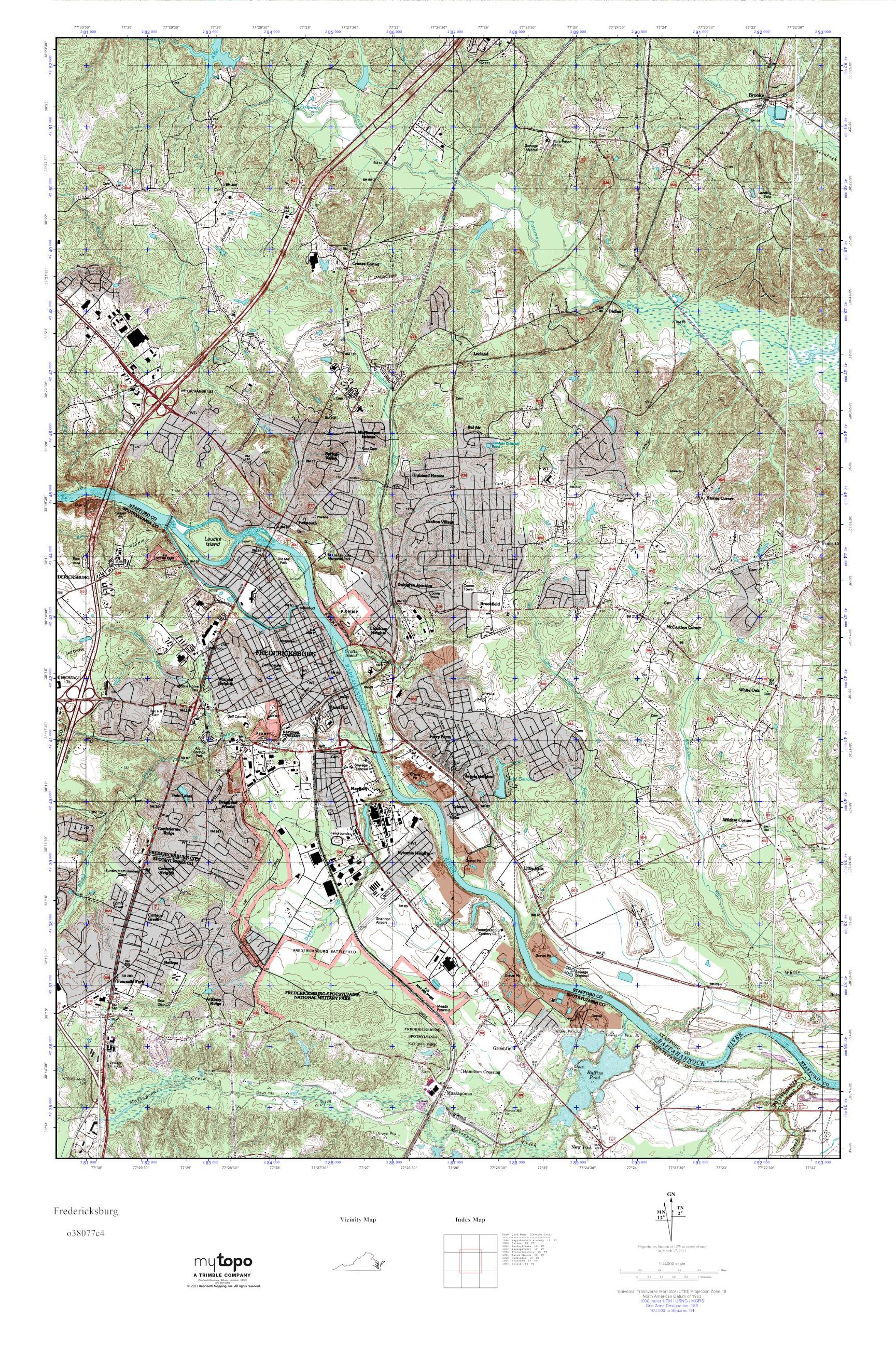 Fredericksburg Virginia Map.Mytopo Fredericksburg Virginia Usgs Quad Topo Map