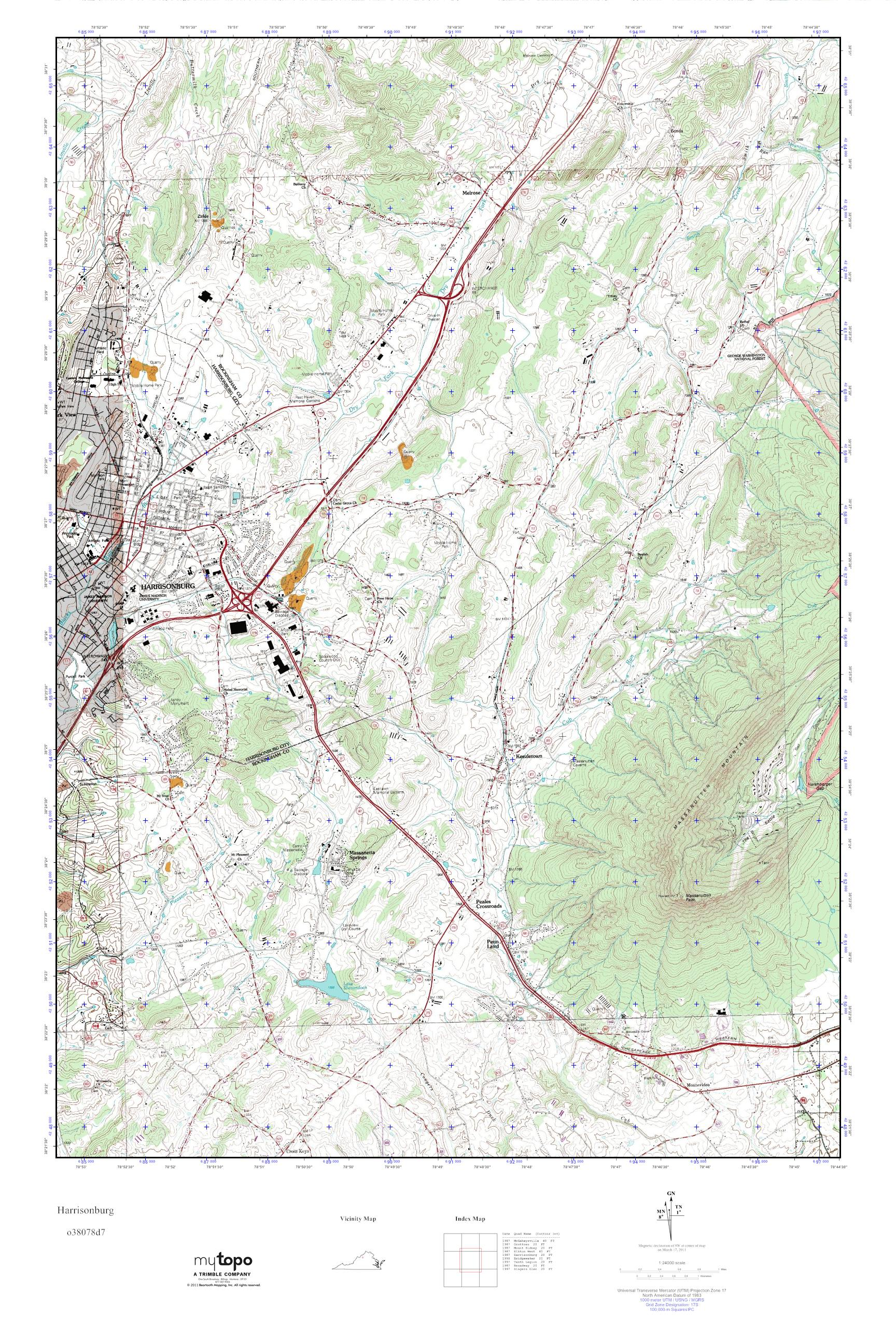MyTopo Harrisonburg, Virginia USGS Quad Topo Map