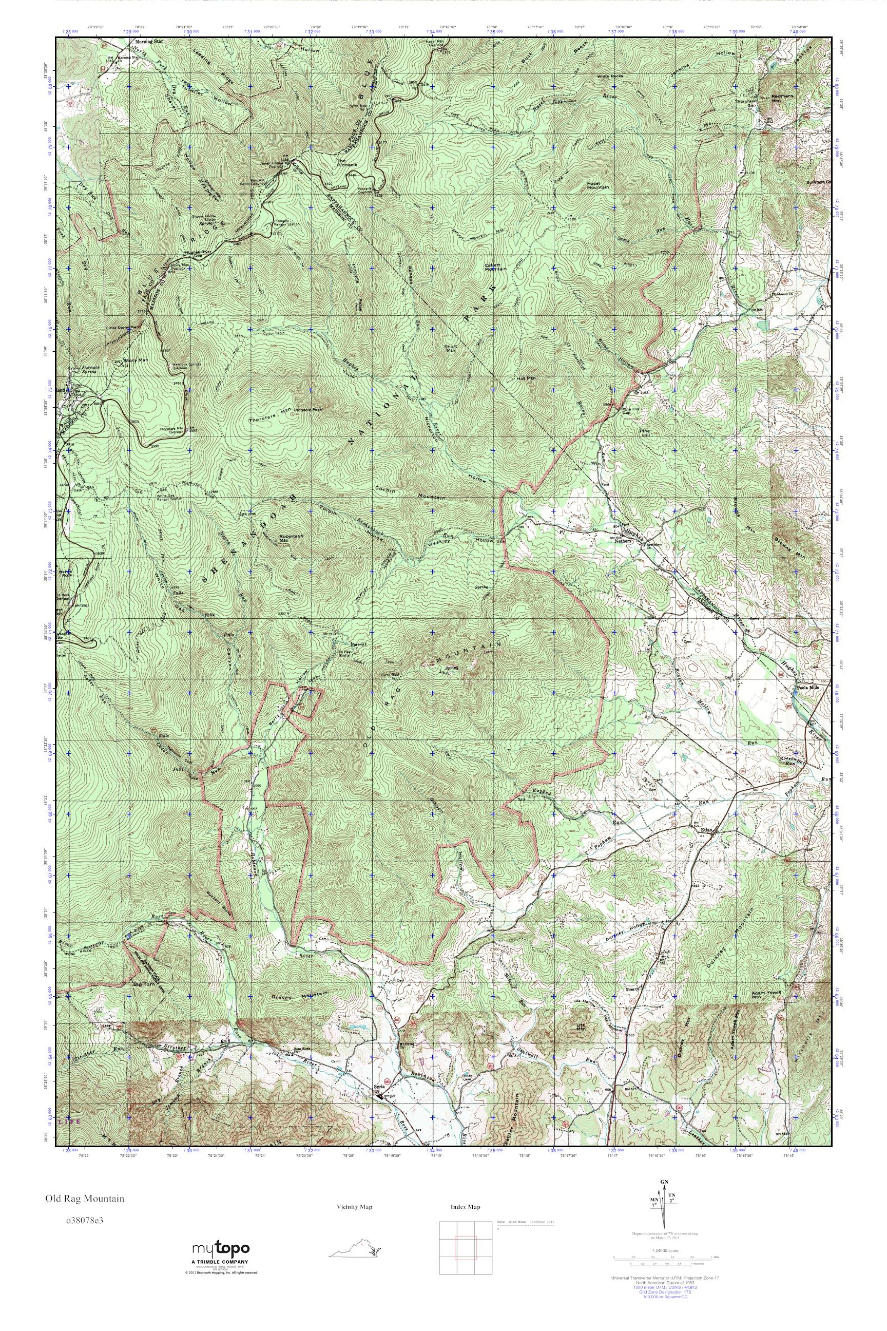 MyTopo Old Rag Mountain Virginia USGS Quad Topo Map - Old rag map