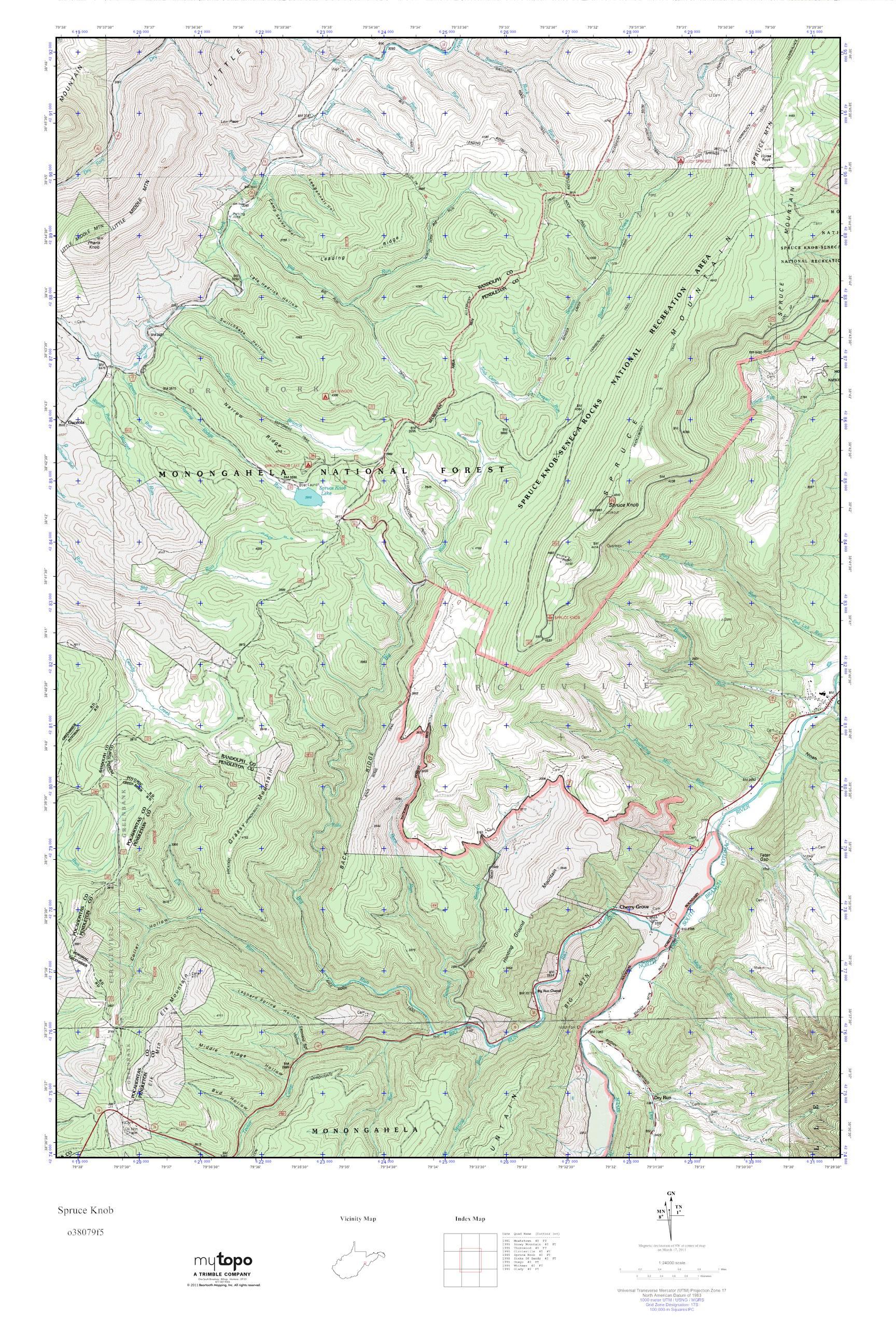 Mytopo Spruce Knob West Virginia Usgs Quad Topo Map