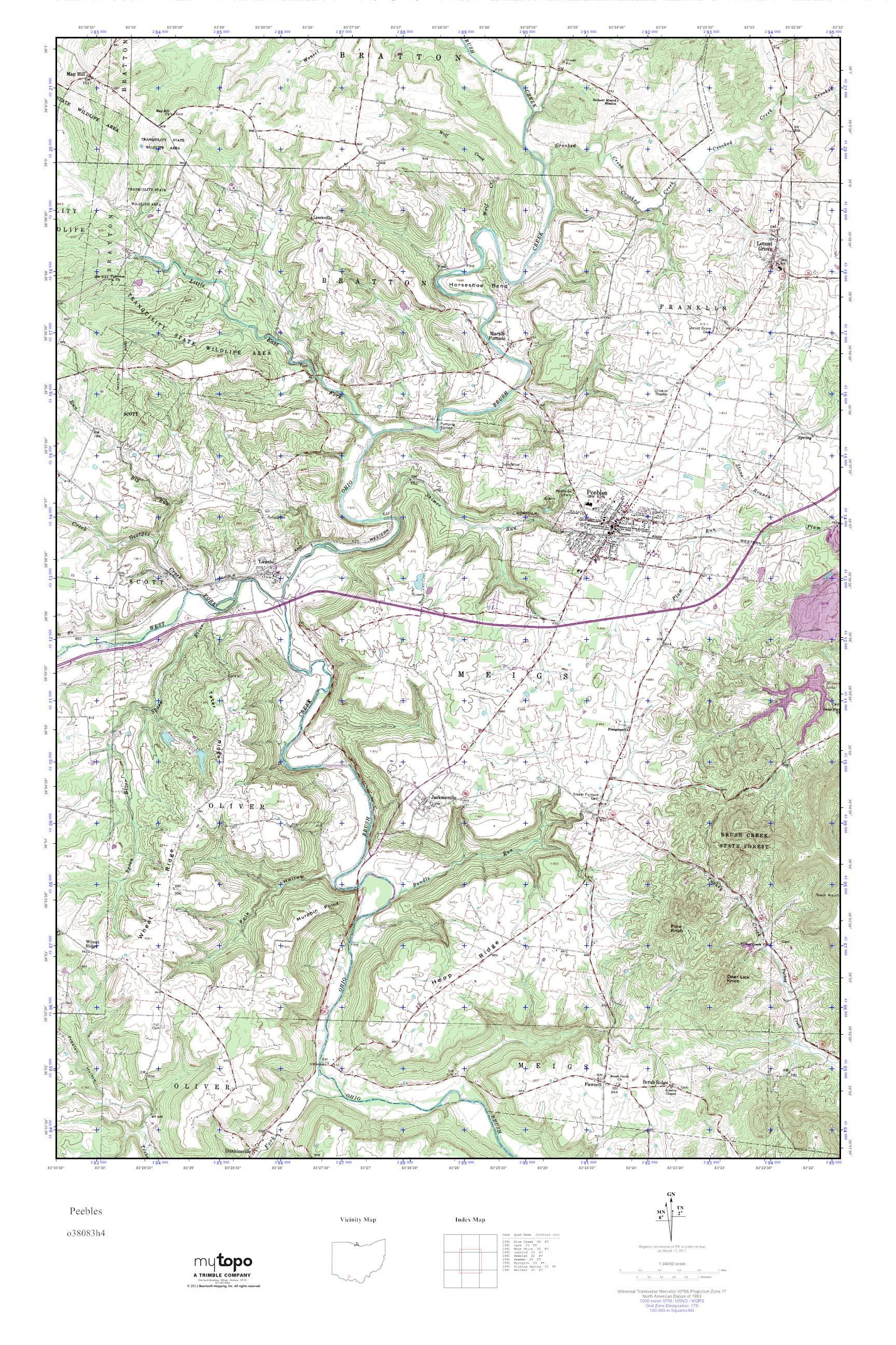 Mytopo Peebles Ohio Usgs Quad Topo Map