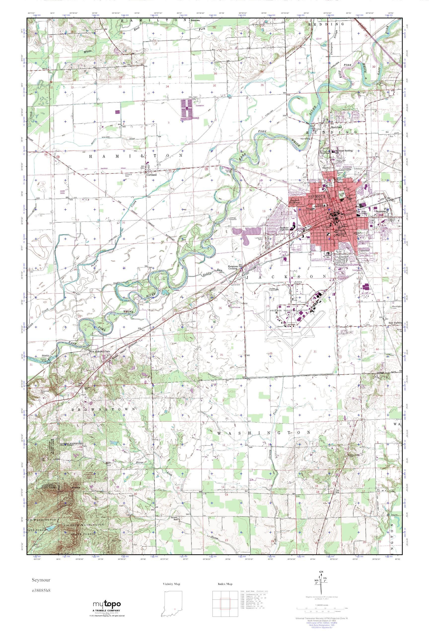 Mytopo Seymour Indiana Usgs Quad Topo Map