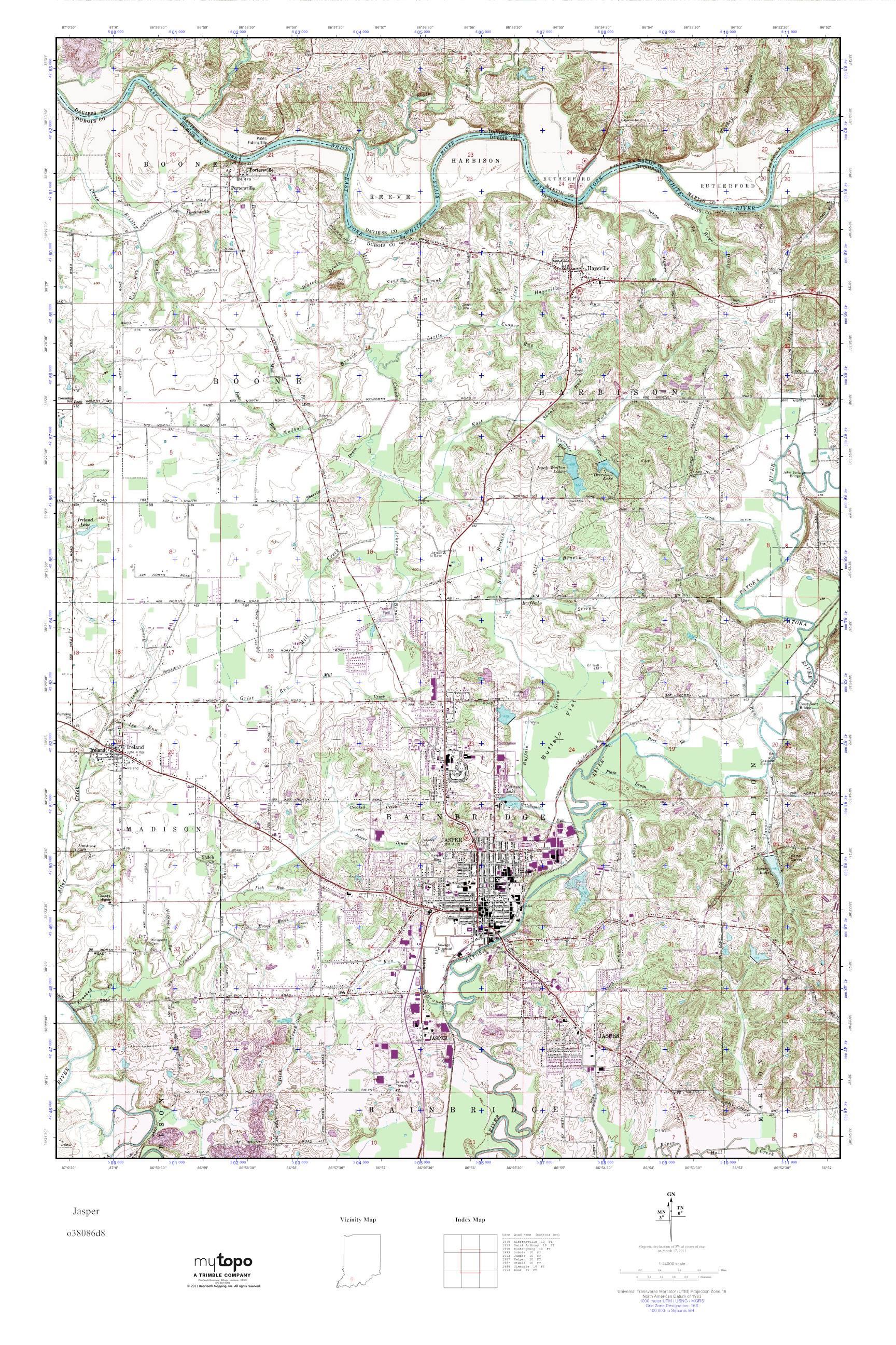 Mytopo Jasper Indiana Usgs Quad Topo Map