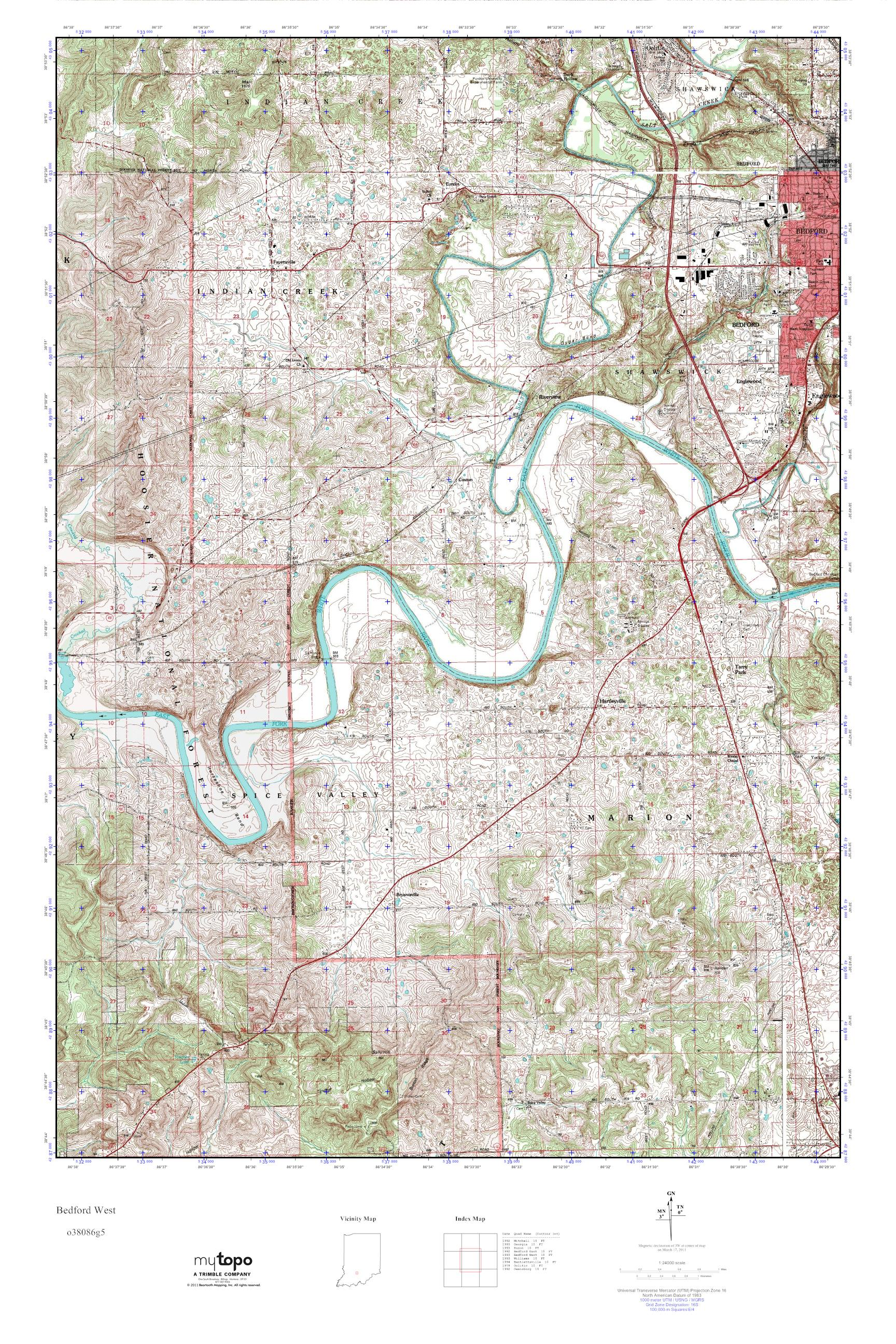 MyTopo Bedford West Indiana USGS Quad Topo Map