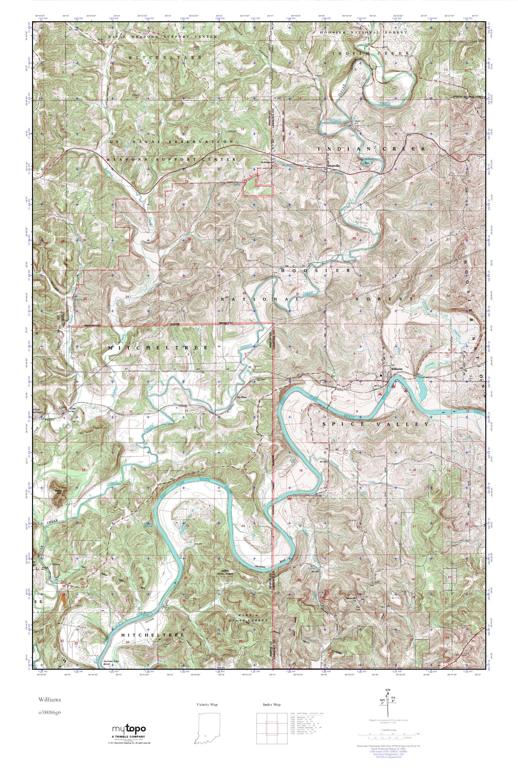 MyTopo Williams, Indiana USGS Quad Topo Map on