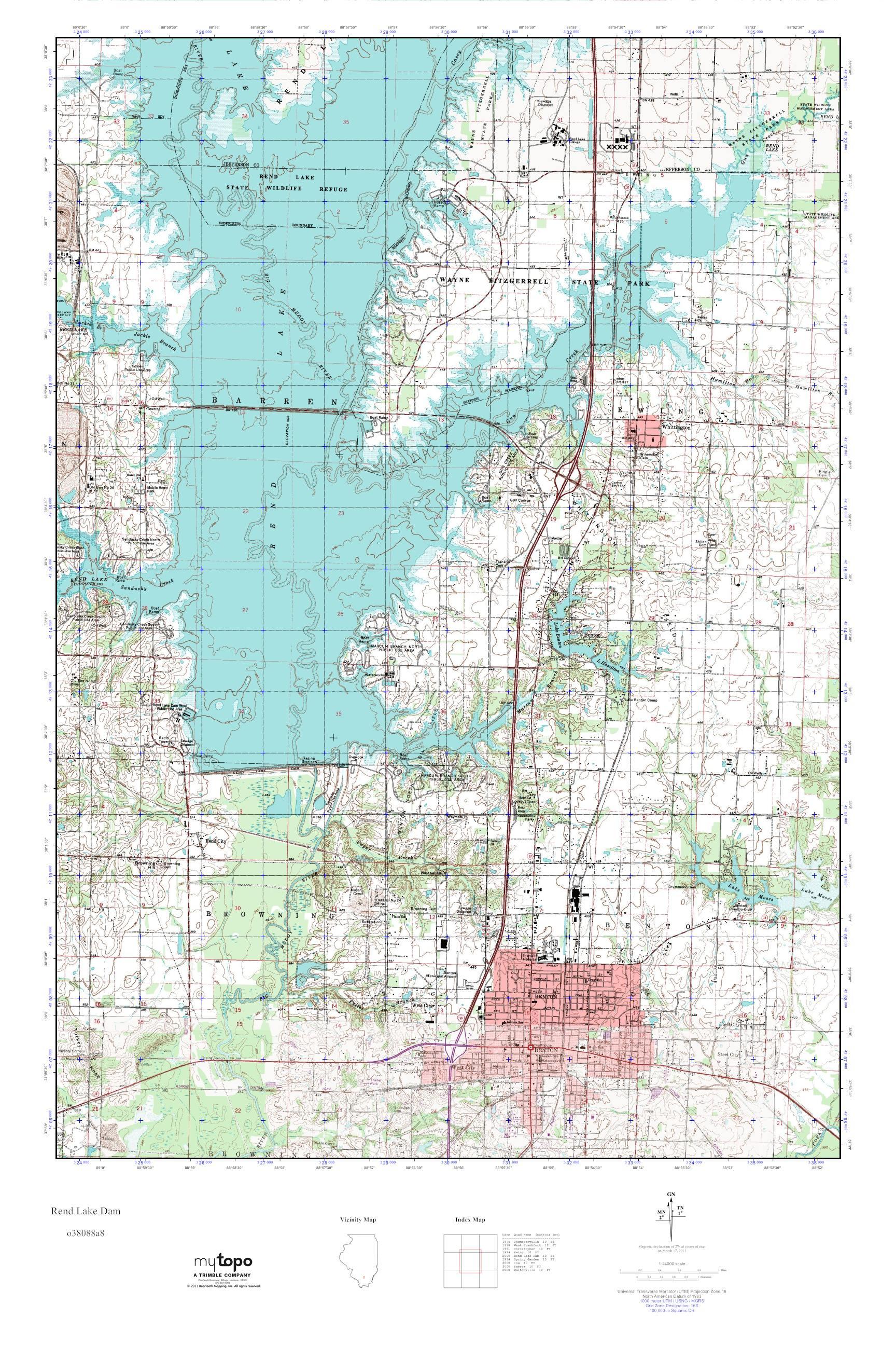 Rend Lake Illinois Map.Mytopo Rend Lake Dam Illinois Usgs Quad Topo Map