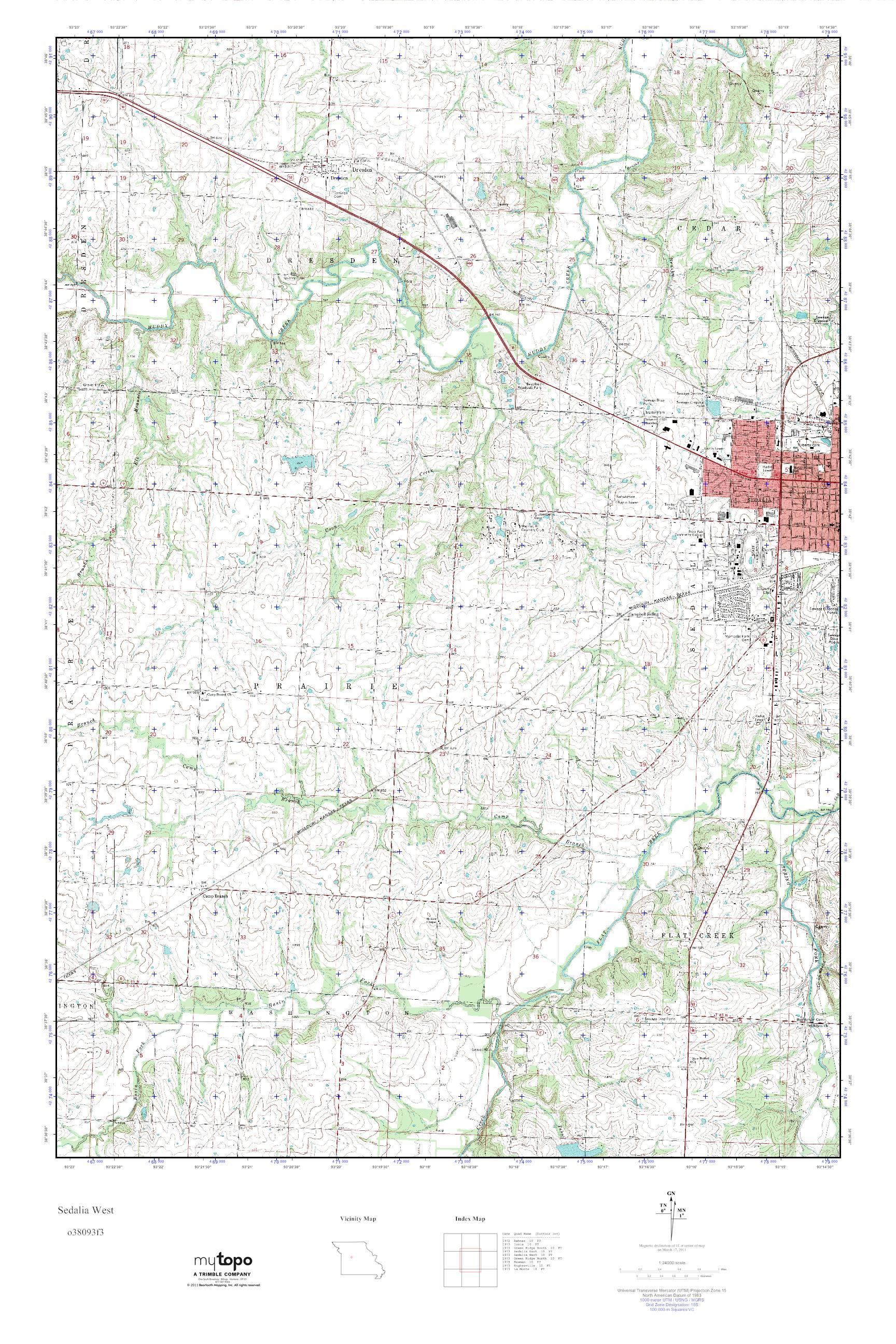 Sedalia Missouri Map.Mytopo Sedalia West Missouri Usgs Quad Topo Map