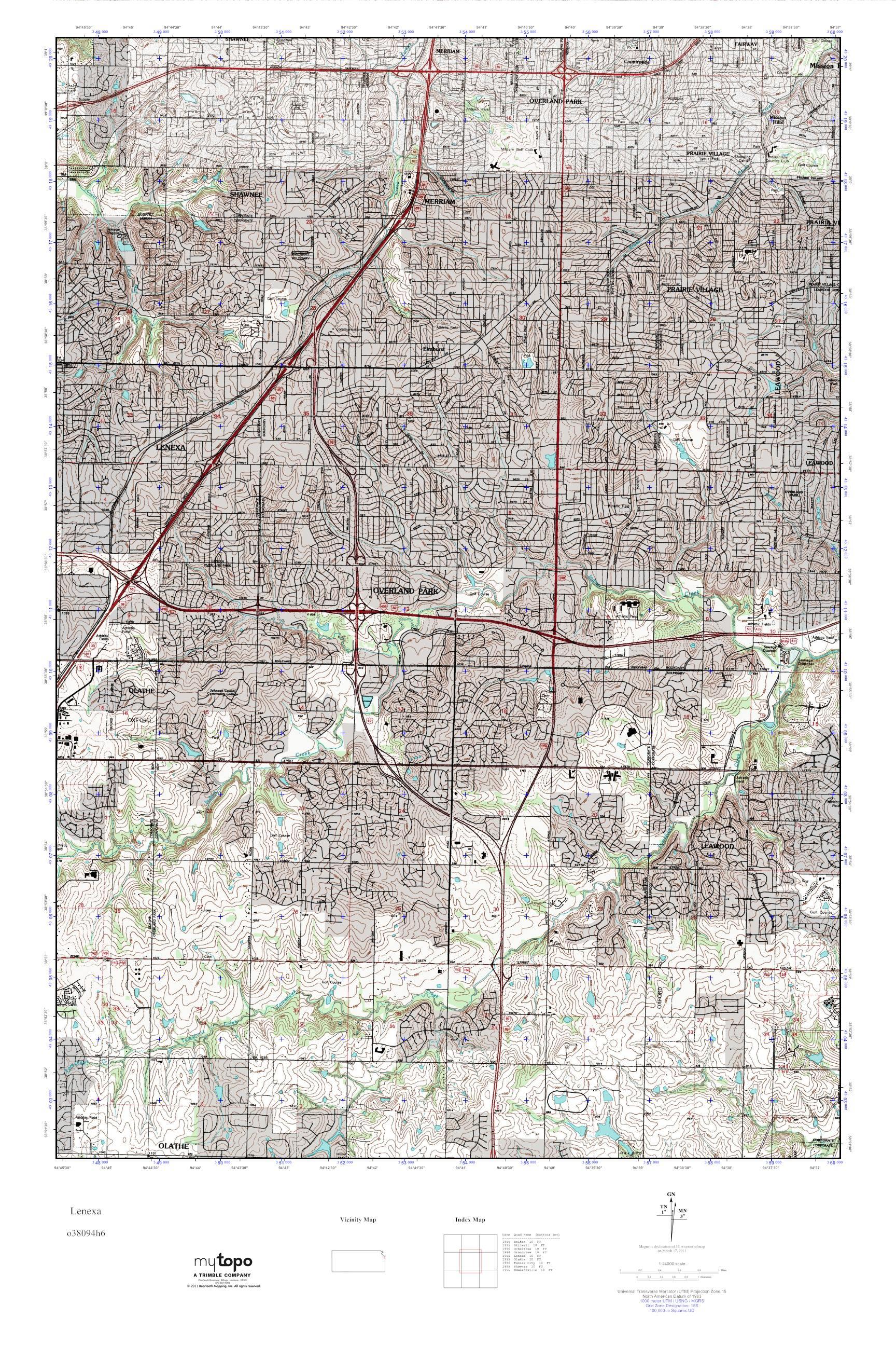MyTopo Lenexa Kansas USGS Quad Topo Map