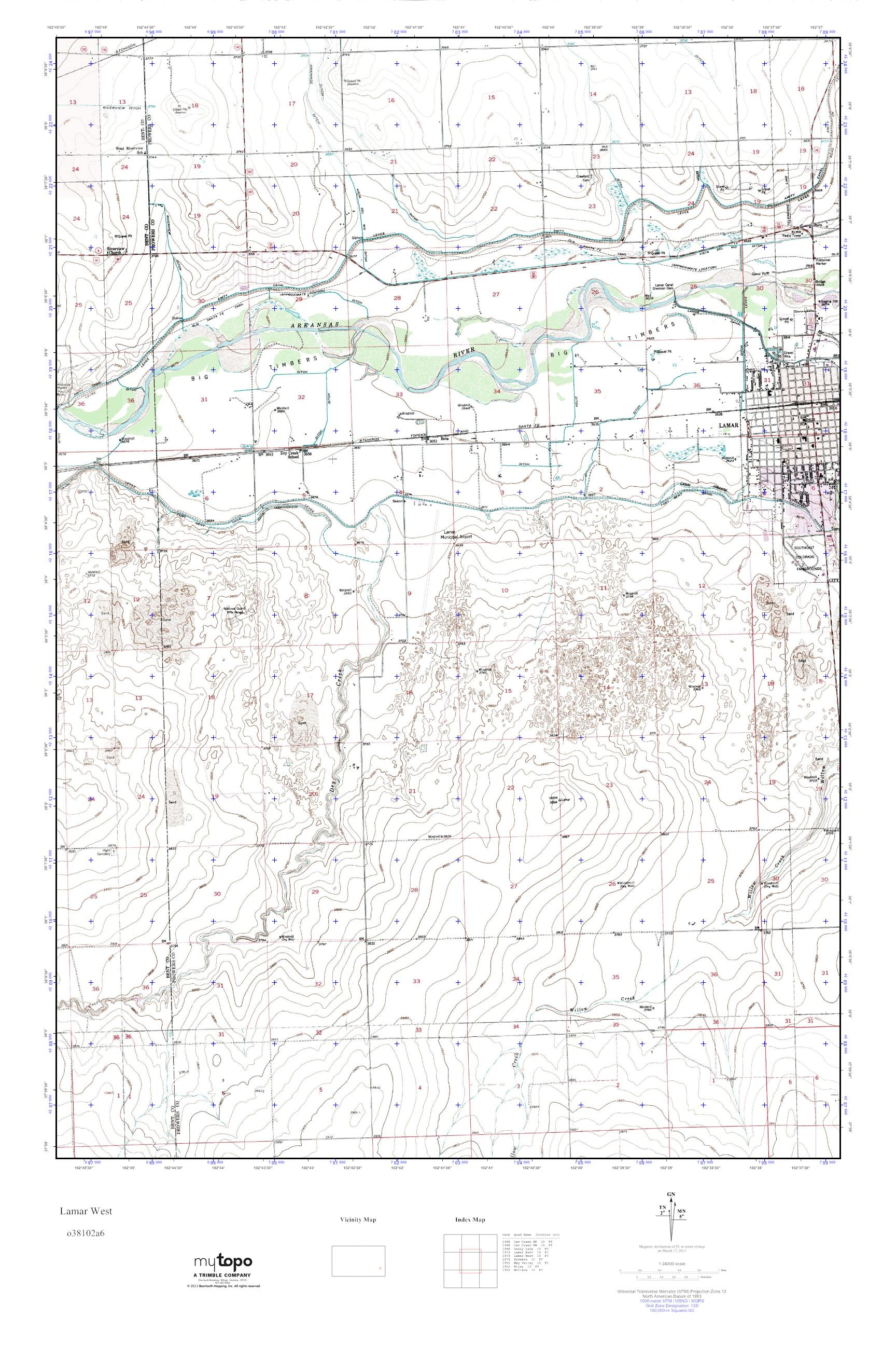 Mytopo Lamar West Colorado Usgs Quad Topo Map