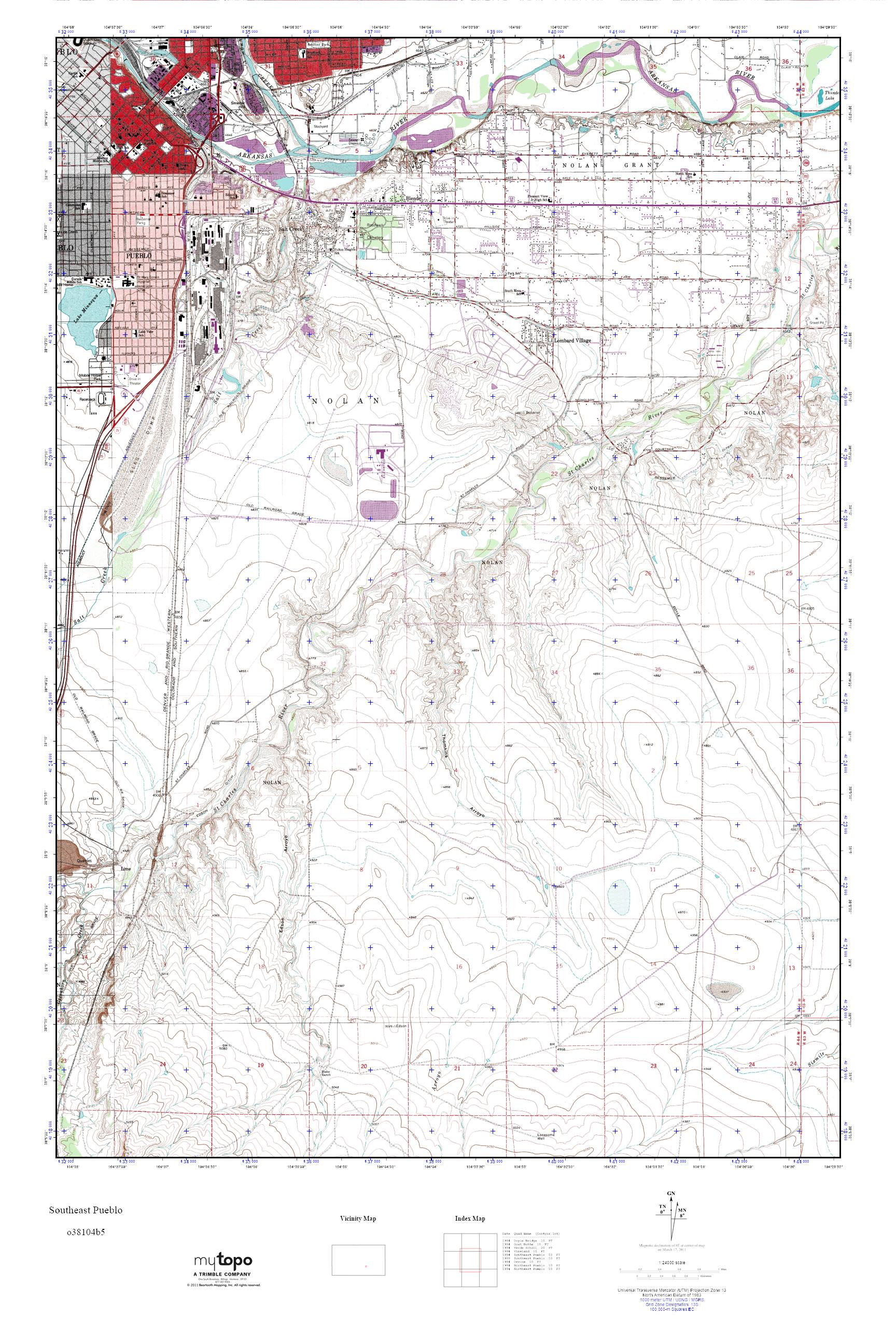 MyTopo Southeast Pueblo, Colorado USGS Quad Topo Map