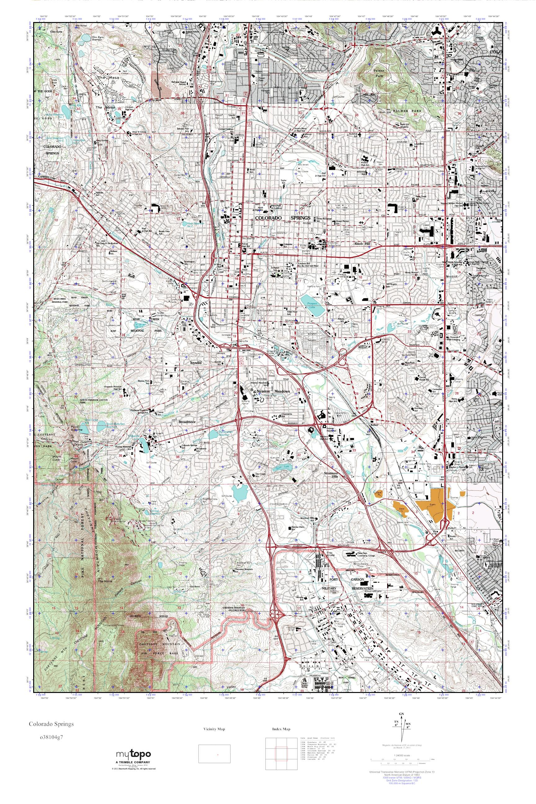 MyTopo Colorado Springs Colorado USGS Quad Topo Map - Colorado springs on us map