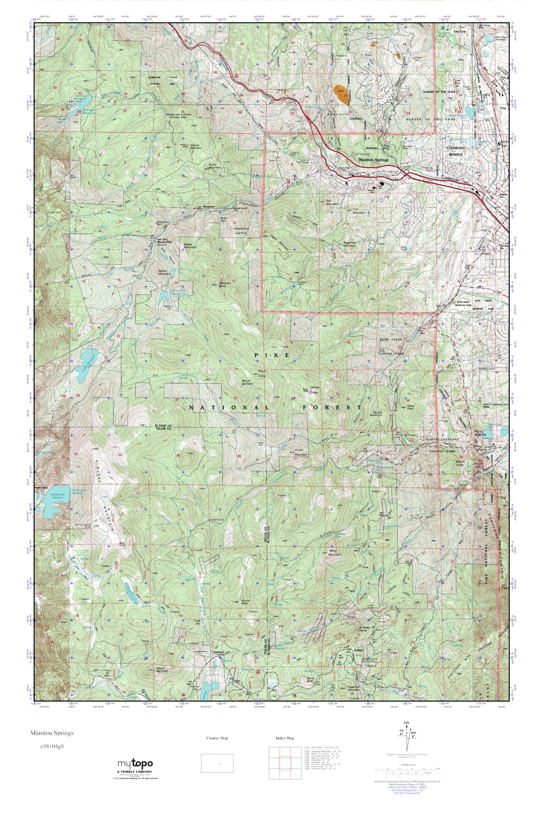 Mytopo Manitou Springs Colorado Usgs Quad Topo Map