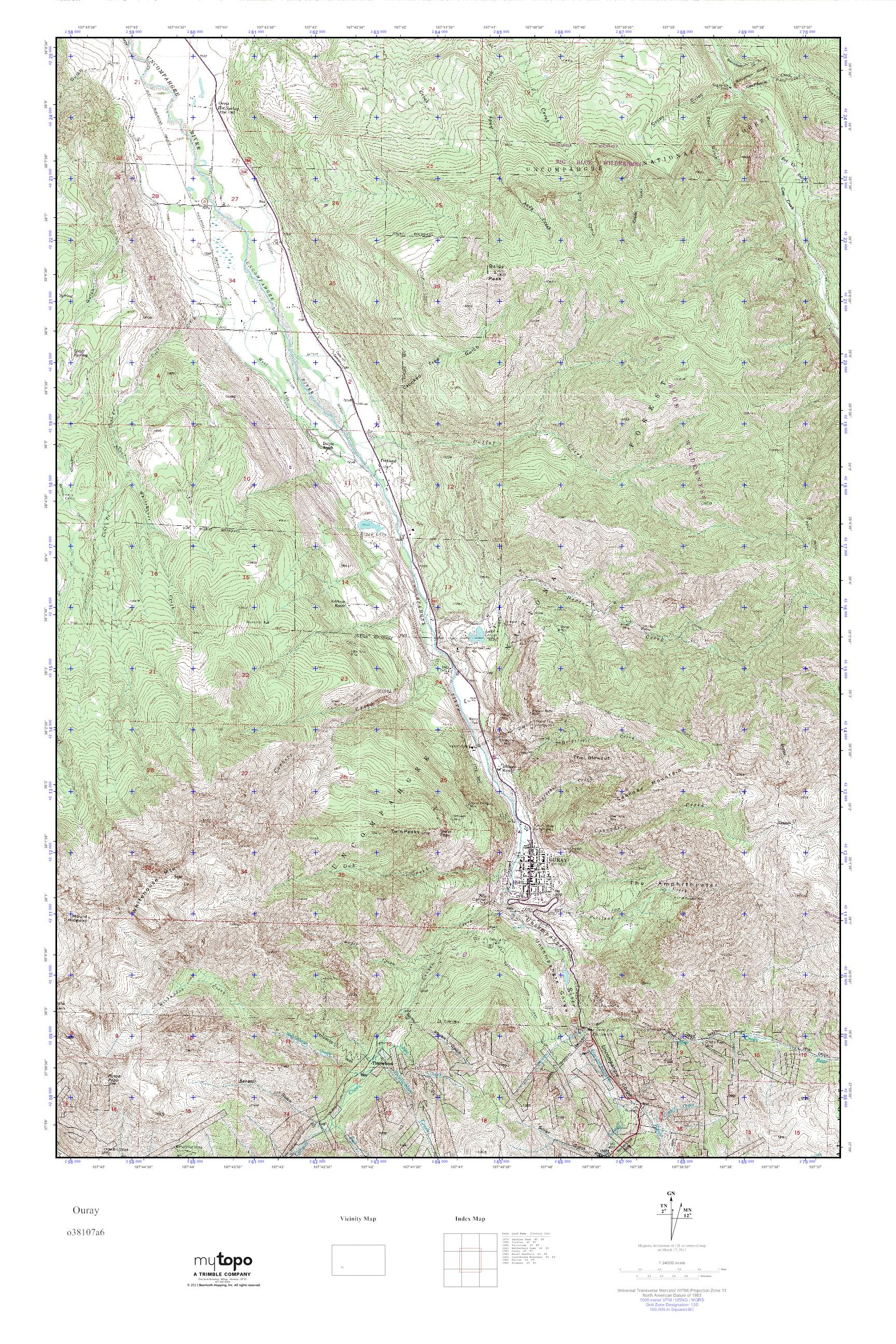 MyTopo Ouray, Colorado USGS Quad Topo Map
