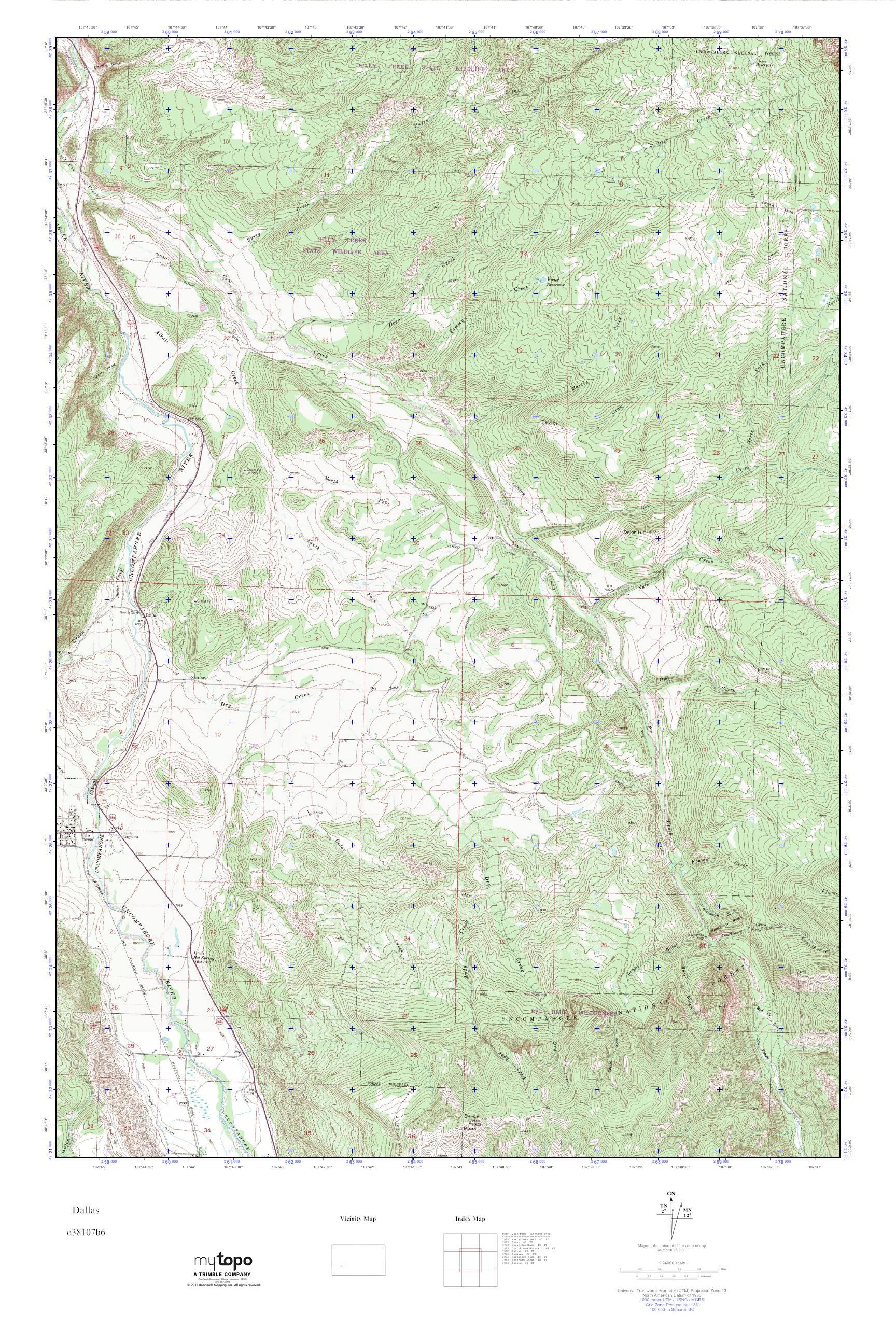 Mytopo Dallas Colorado Usgs Quad Topo Map