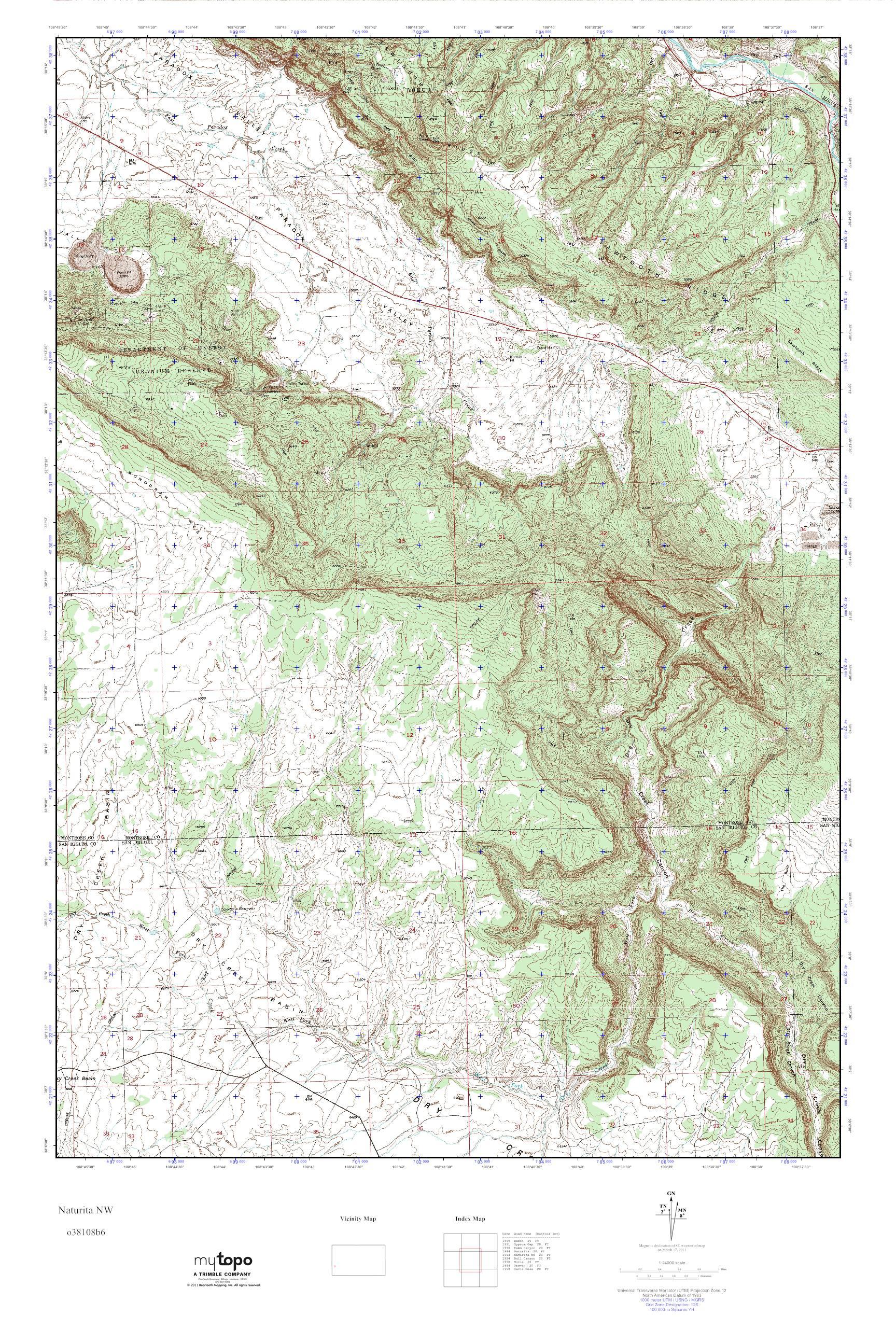 Nw Colorado Map.Mytopo Naturita Nw Colorado Usgs Quad Topo Map