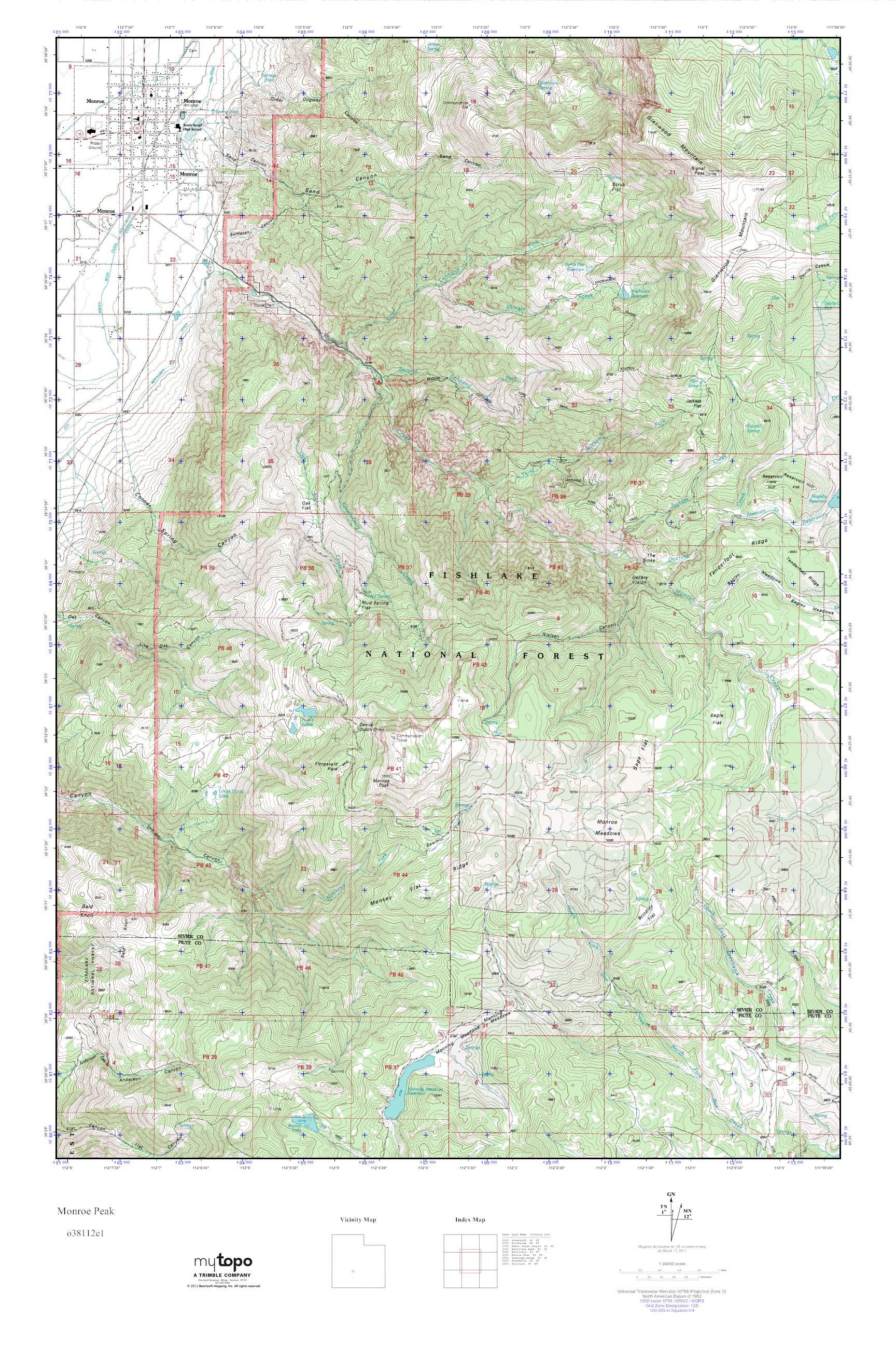 Mytopo Monroe Peak Utah Usgs Quad Topo Map
