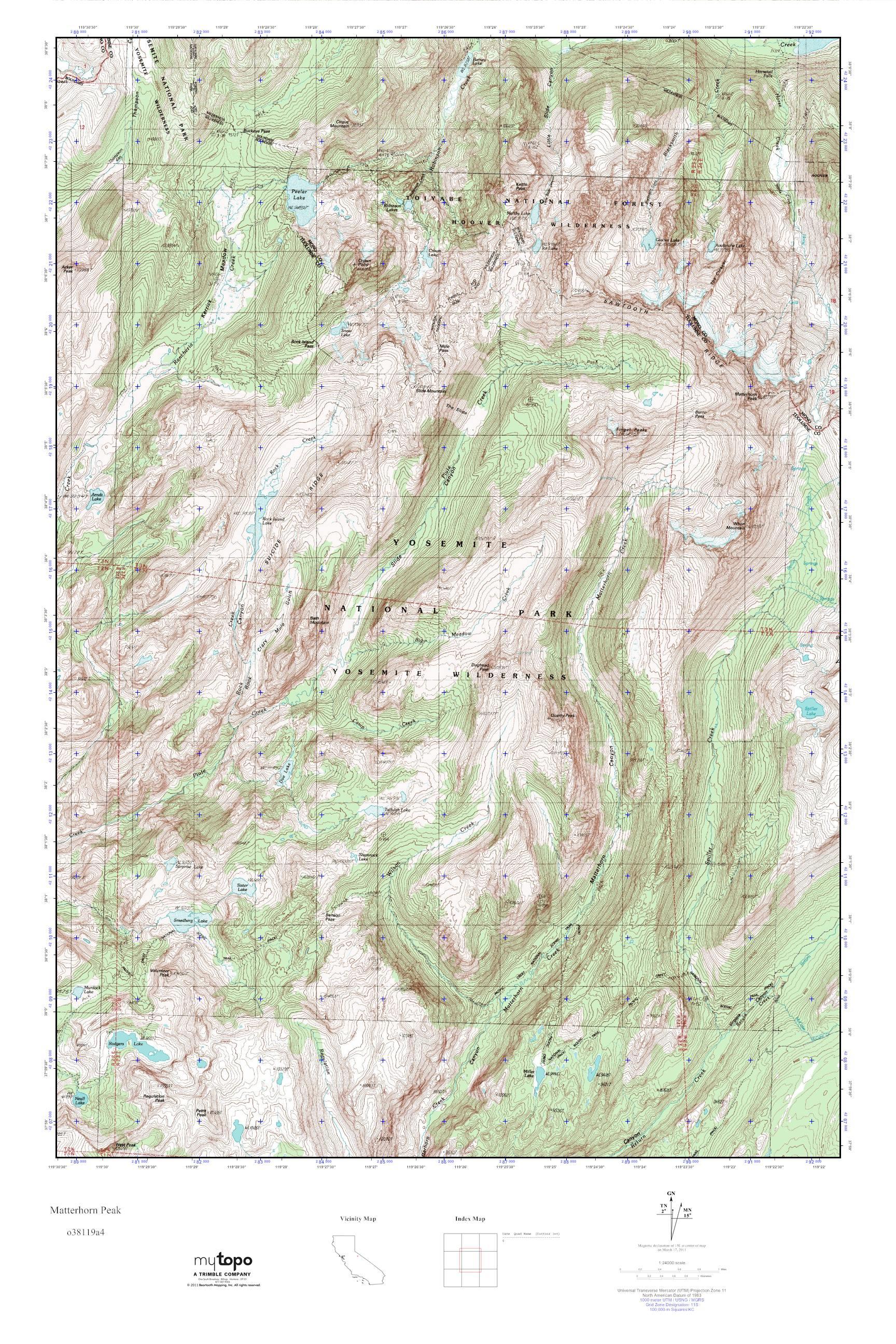 MyTopo Matterhorn Peak, California USGS Quad Topo Map