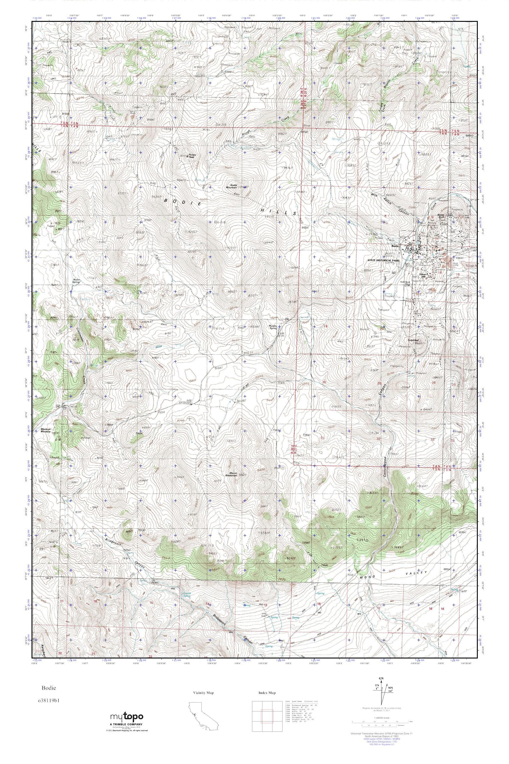 Mytopo Bodie California Usgs Quad Topo Map
