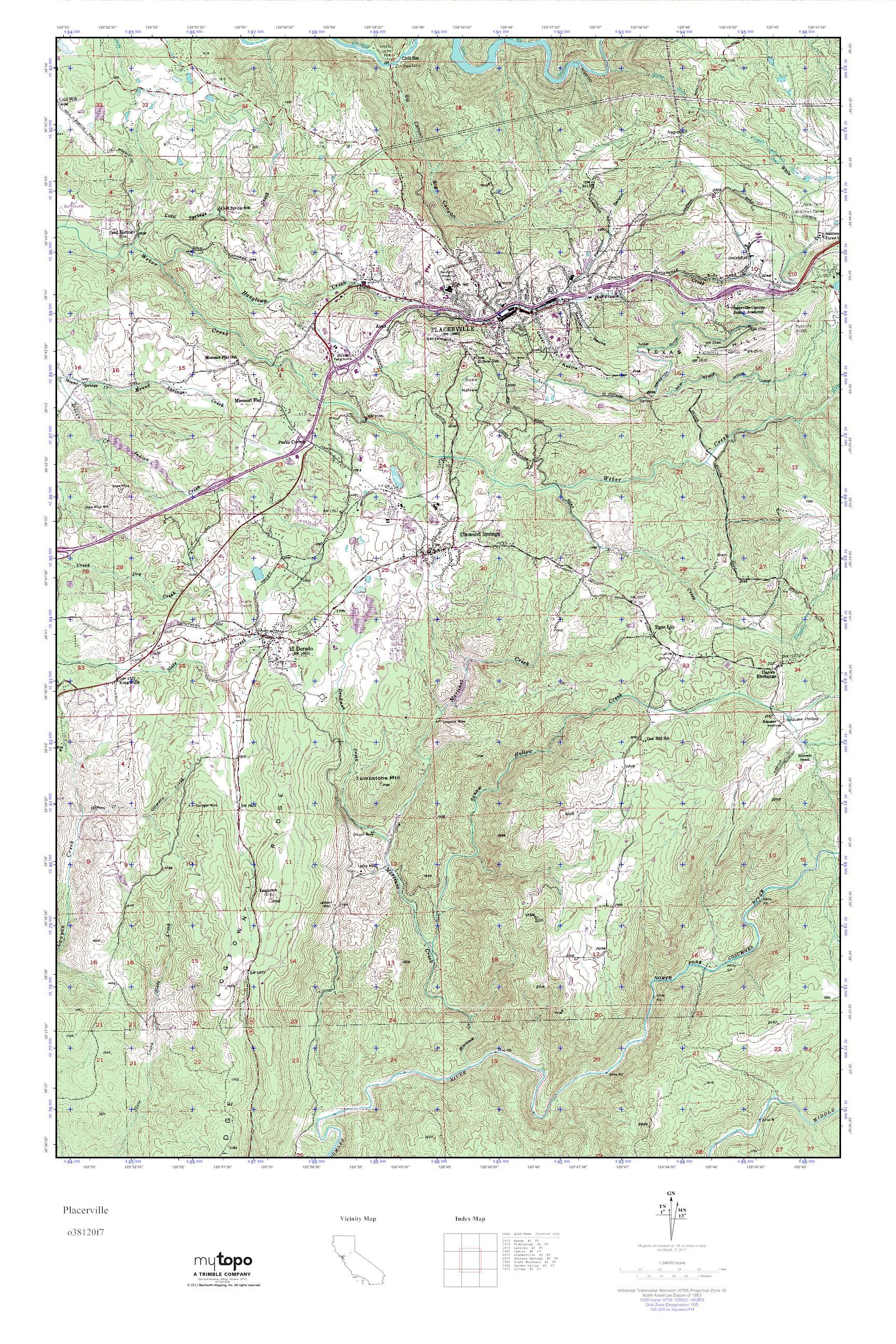 Placerville California Map.Mytopo Placerville California Usgs Quad Topo Map