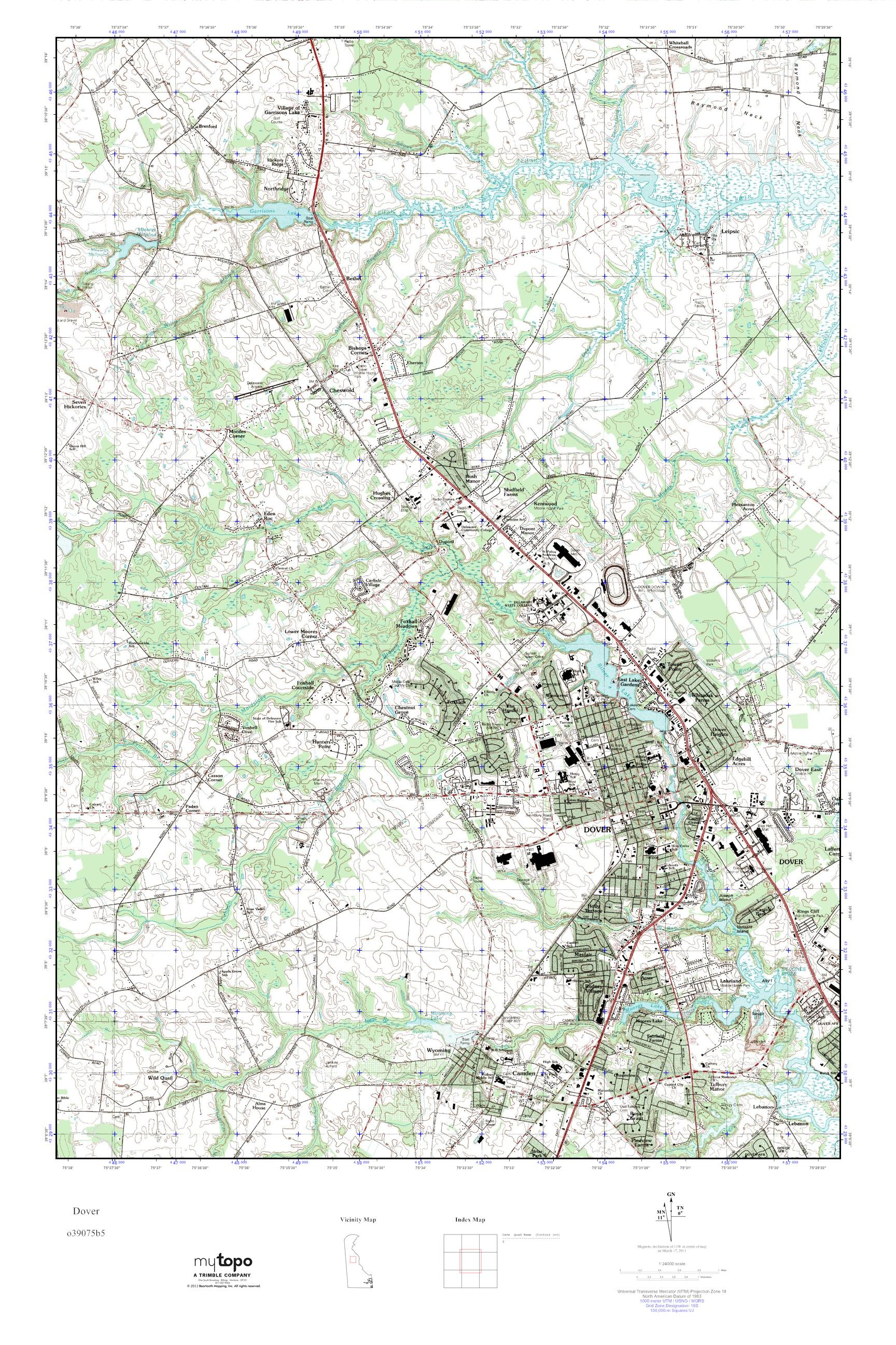 MyTopo Dover, Delaware USGS Quad Topo Map on