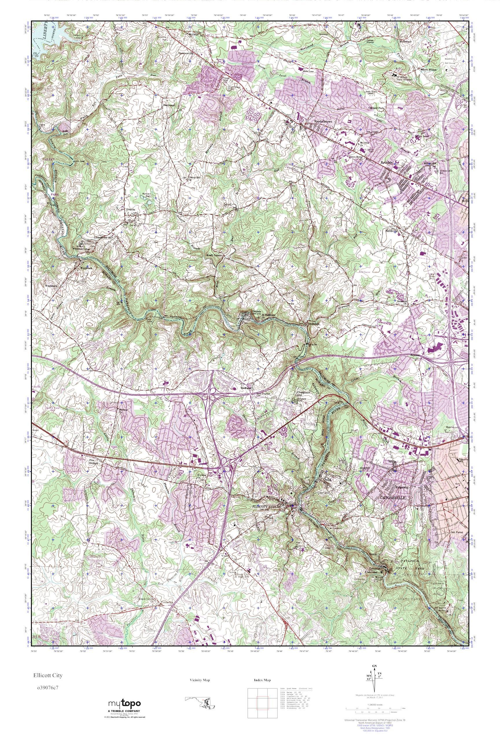 MyTopo Ellicott City, Maryland USGS Quad Topo Map