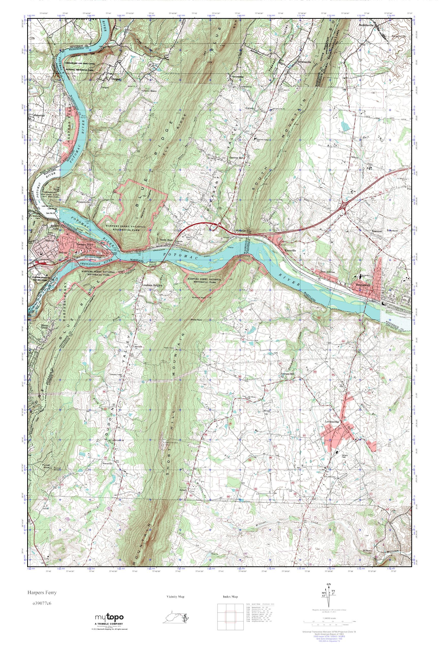 Topographic Map West Virginia.Mytopo Harpers Ferry West Virginia Usgs Quad Topo Map