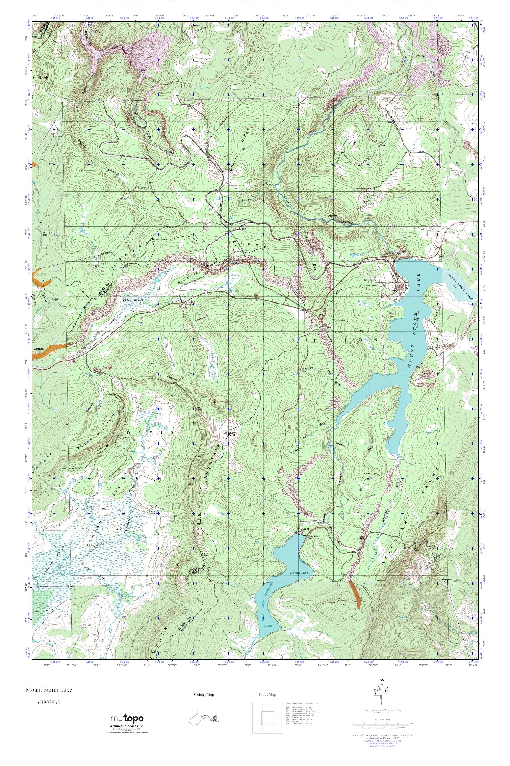 MyTopo Mount Storm Lake, West Virginia USGS Quad Topo Map