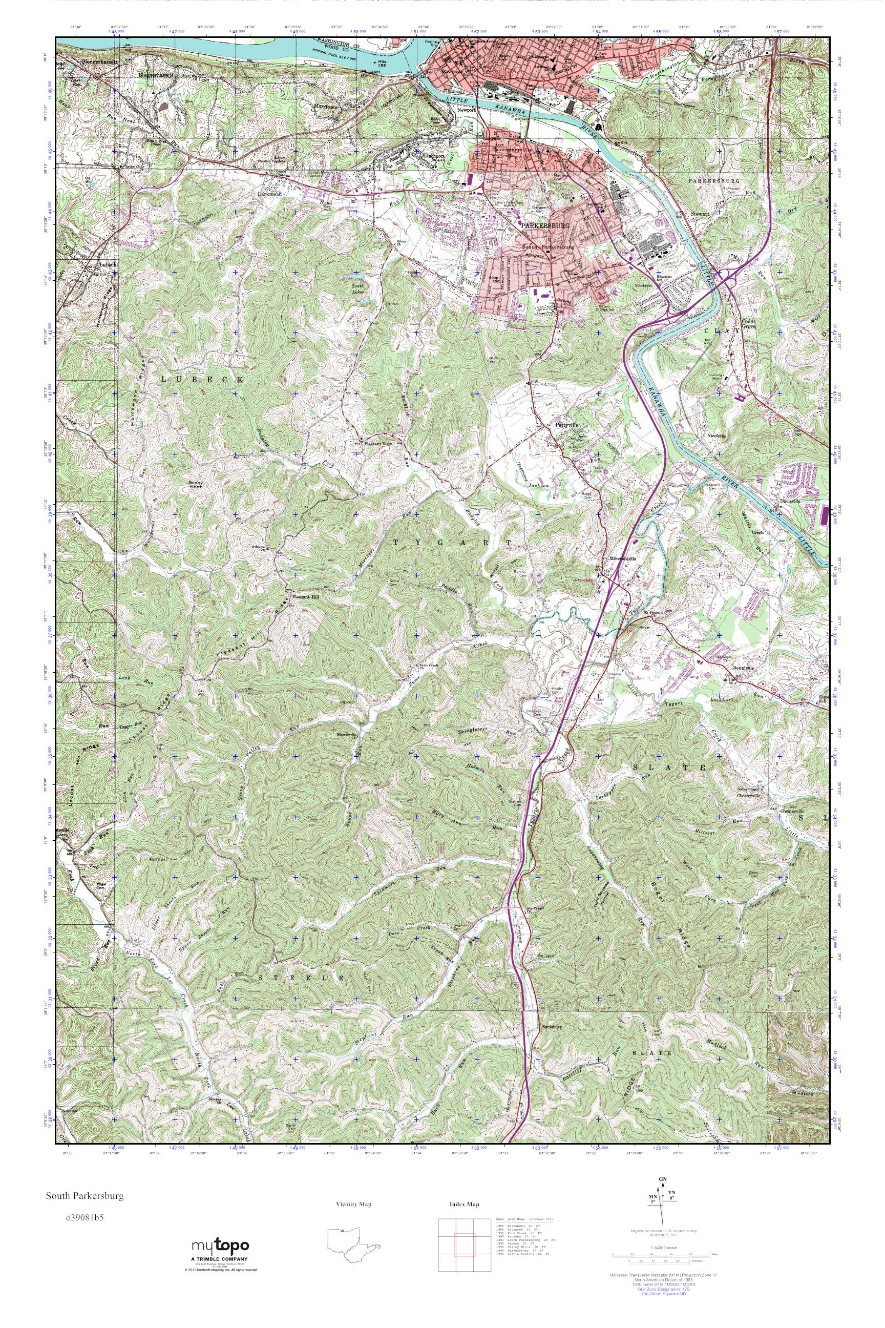 Parkersburg West Virginia Map.Mytopo South Parkersburg West Virginia Usgs Quad Topo Map