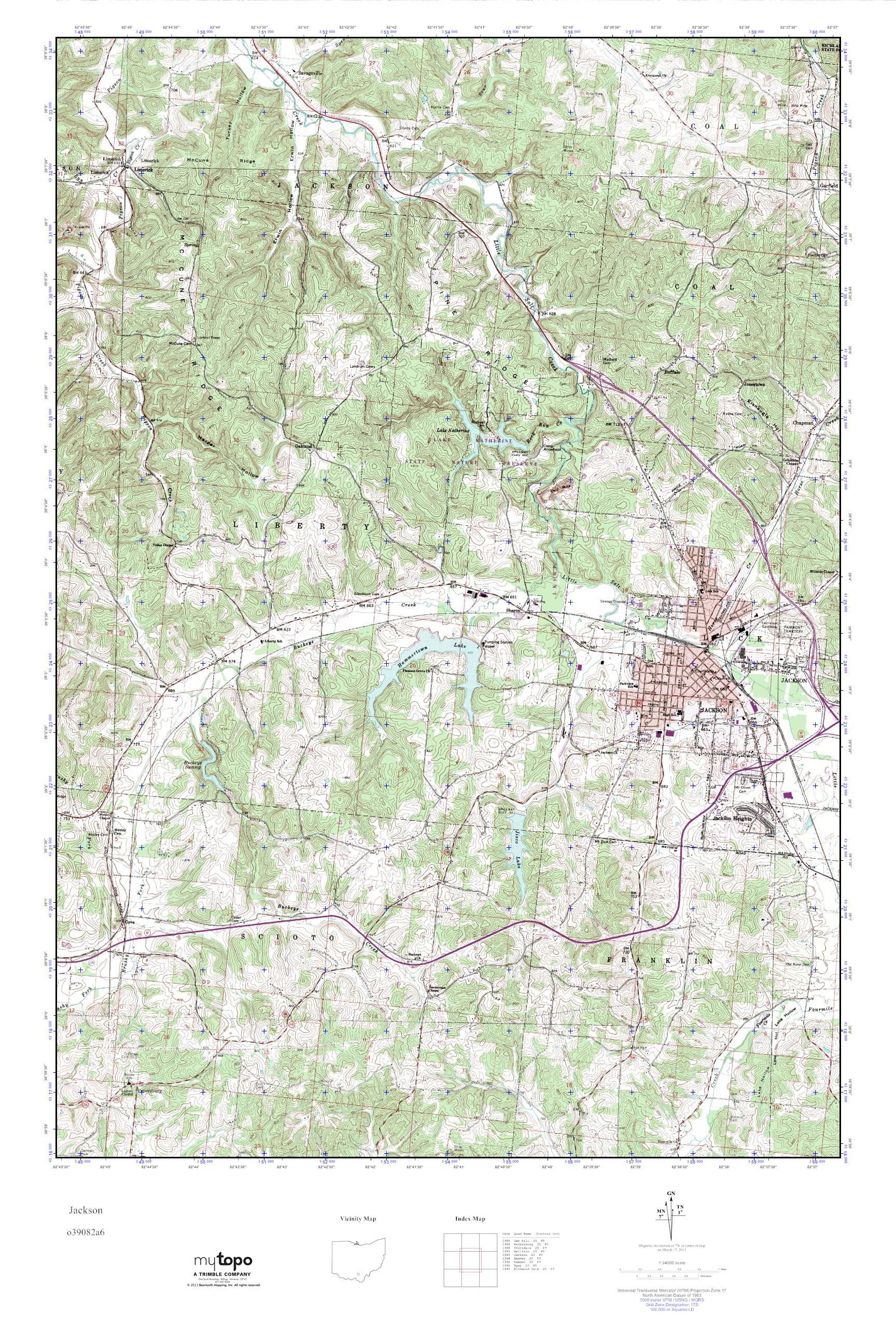 Mytopo Jackson Ohio Usgs Quad Topo Map